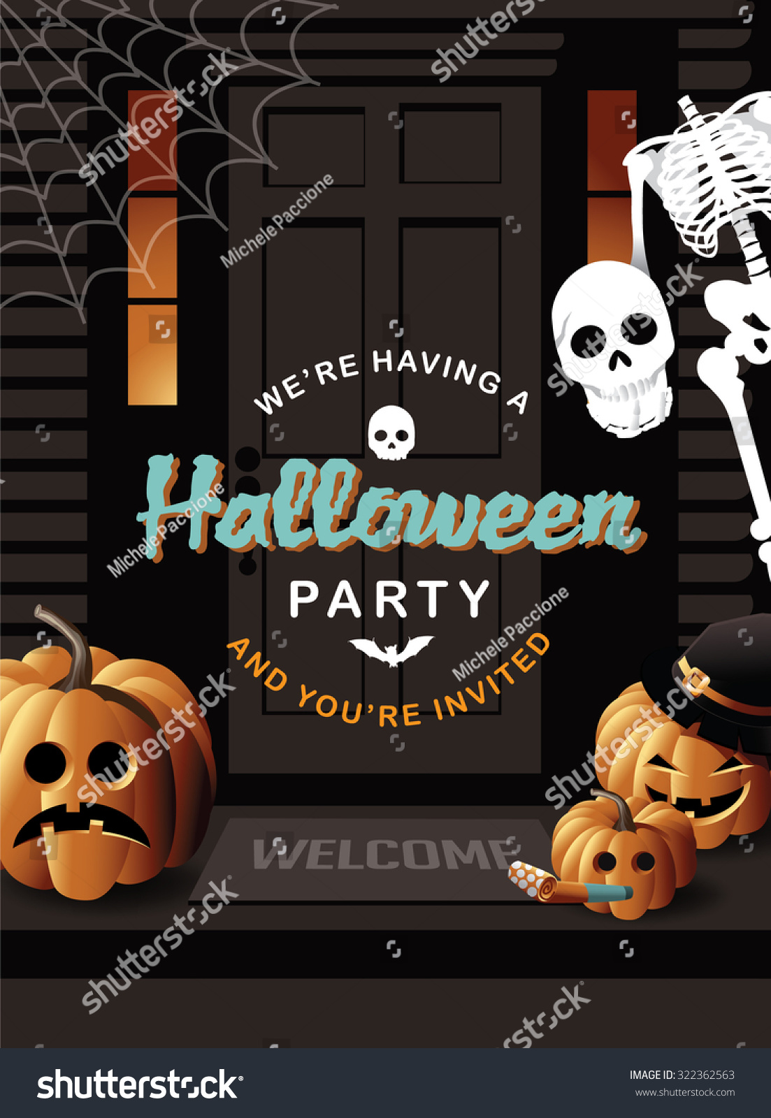 Halloween Party Invitation House With Jack O Lanterns And Skeleton ...