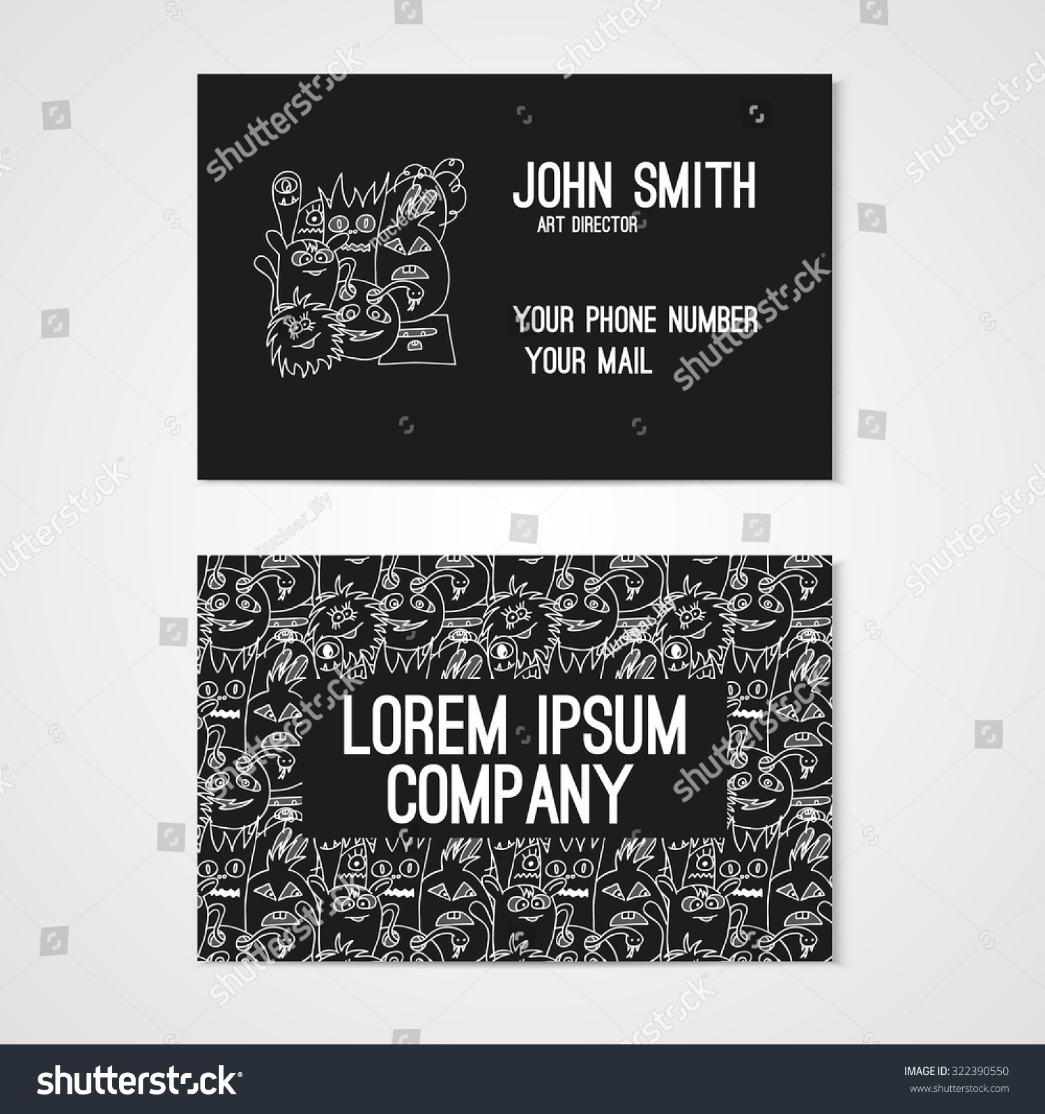 Business card template whit funny doodle stock vector 322390550 business card template whit funny doodle monsters corporate identity illustration in white and black friedricerecipe Image collections
