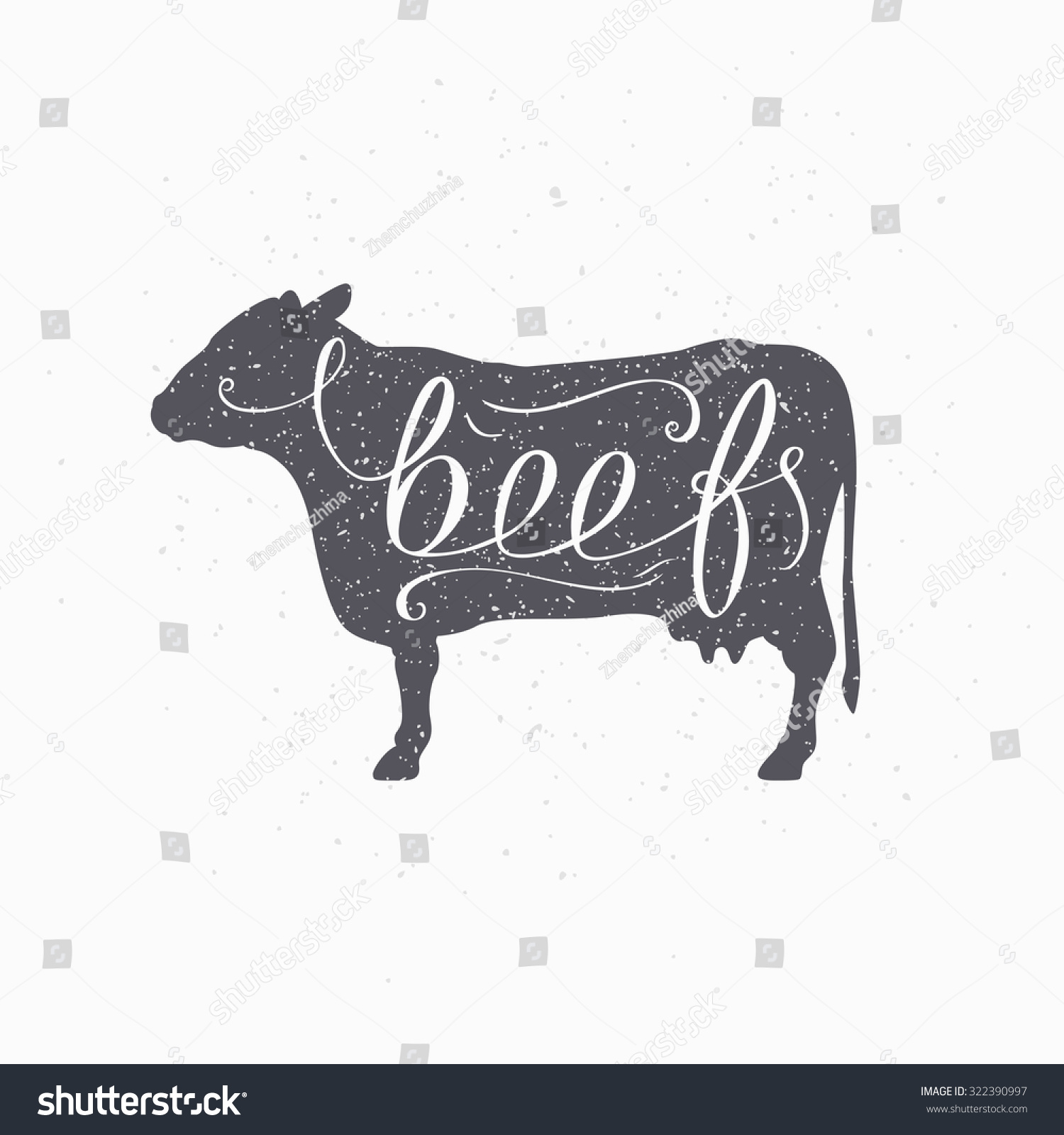 hand drawn hipster cow silhouette beef stock vector