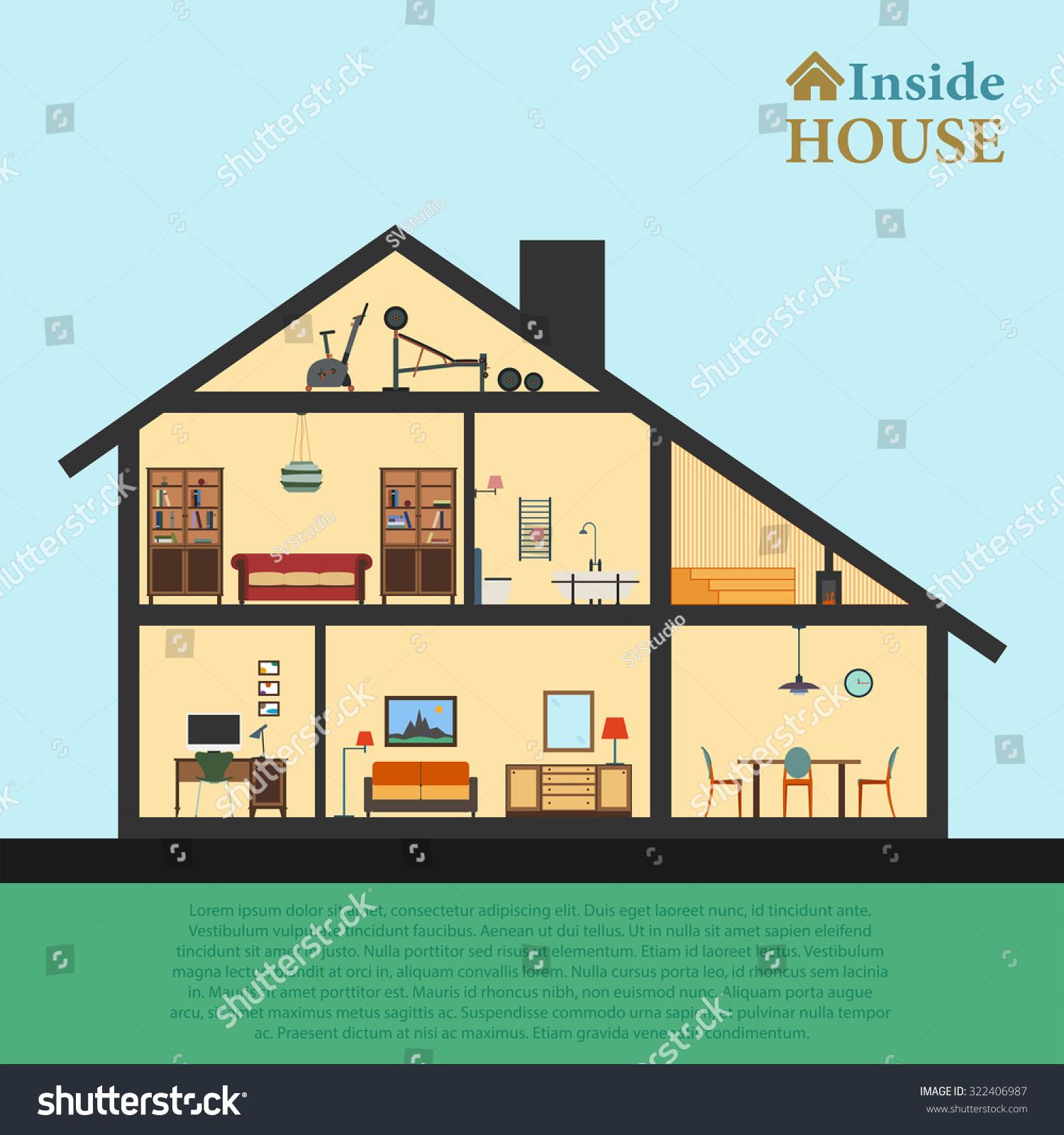 house inside detailed house modern house のベクター画像素材