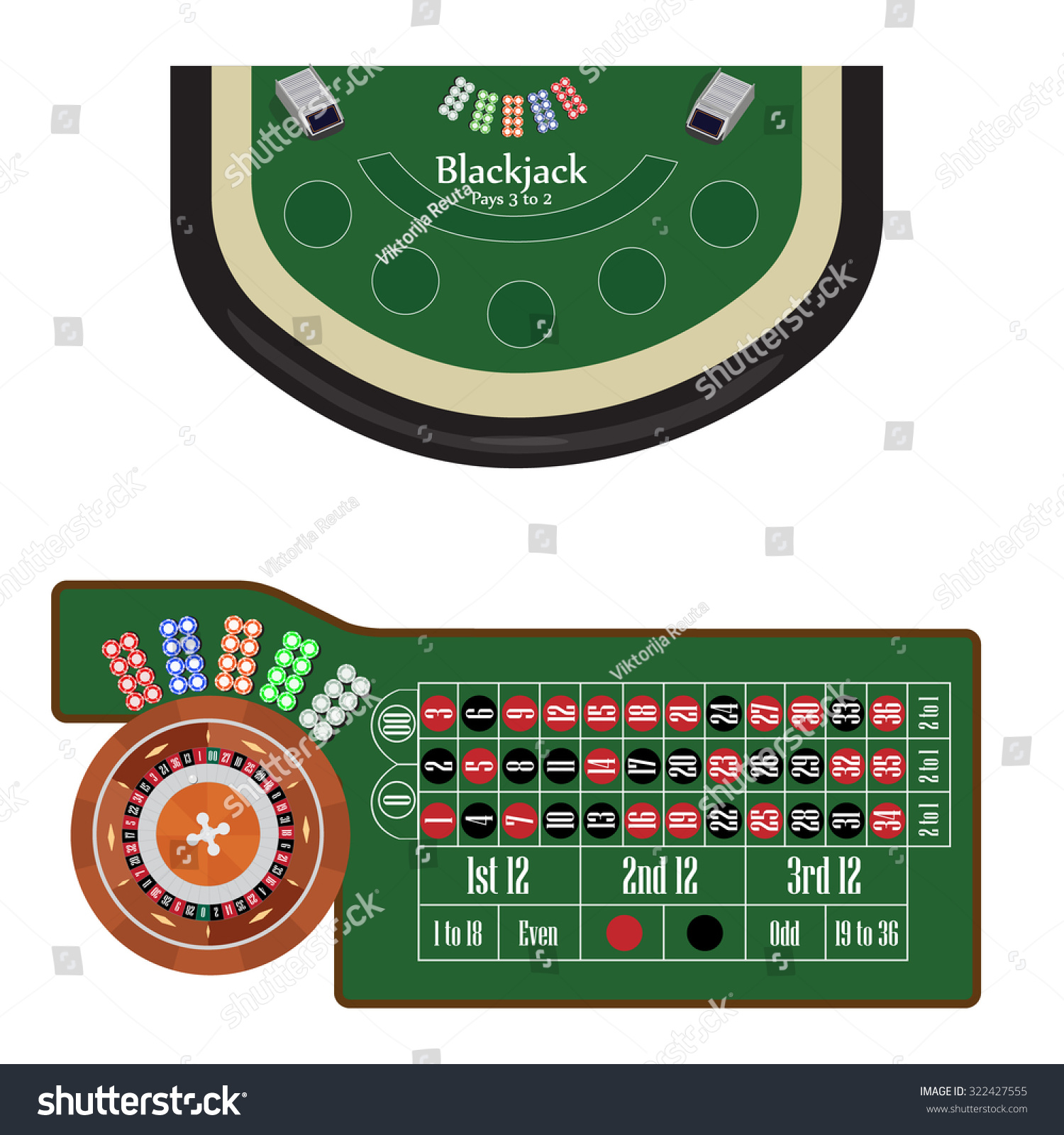 Traditional european roulette table vector illustration stock vector - American Roulette Table With Roulette Wheel And Ball Different Colors Chips Vector Illustration Blackjack