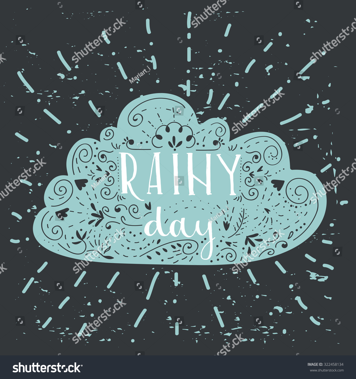 Cute Rainy Day Quotes: Isolated Hand Written Inscriptions Rainy Day Stock Vector