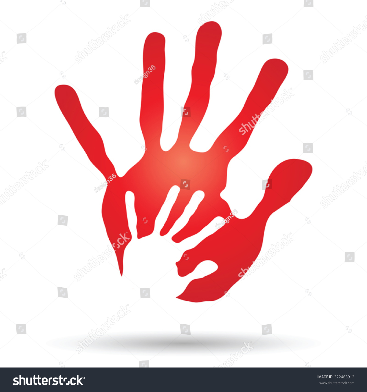 Vector Concept Or Conceptual Cute Paint Hand Of Mother Child