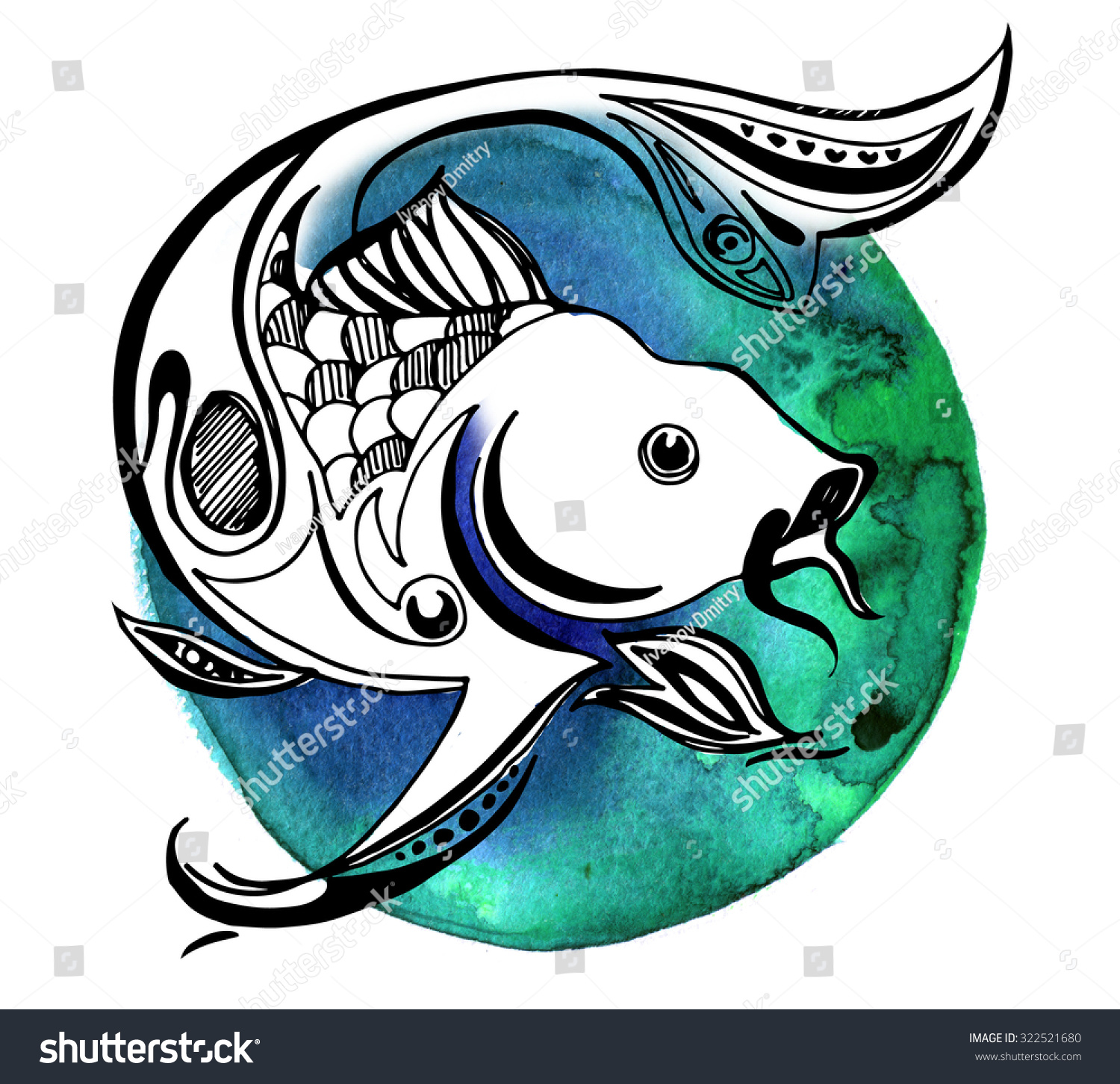Line fish watercolor circle graphic koi stock illustration for Koi meaning in english