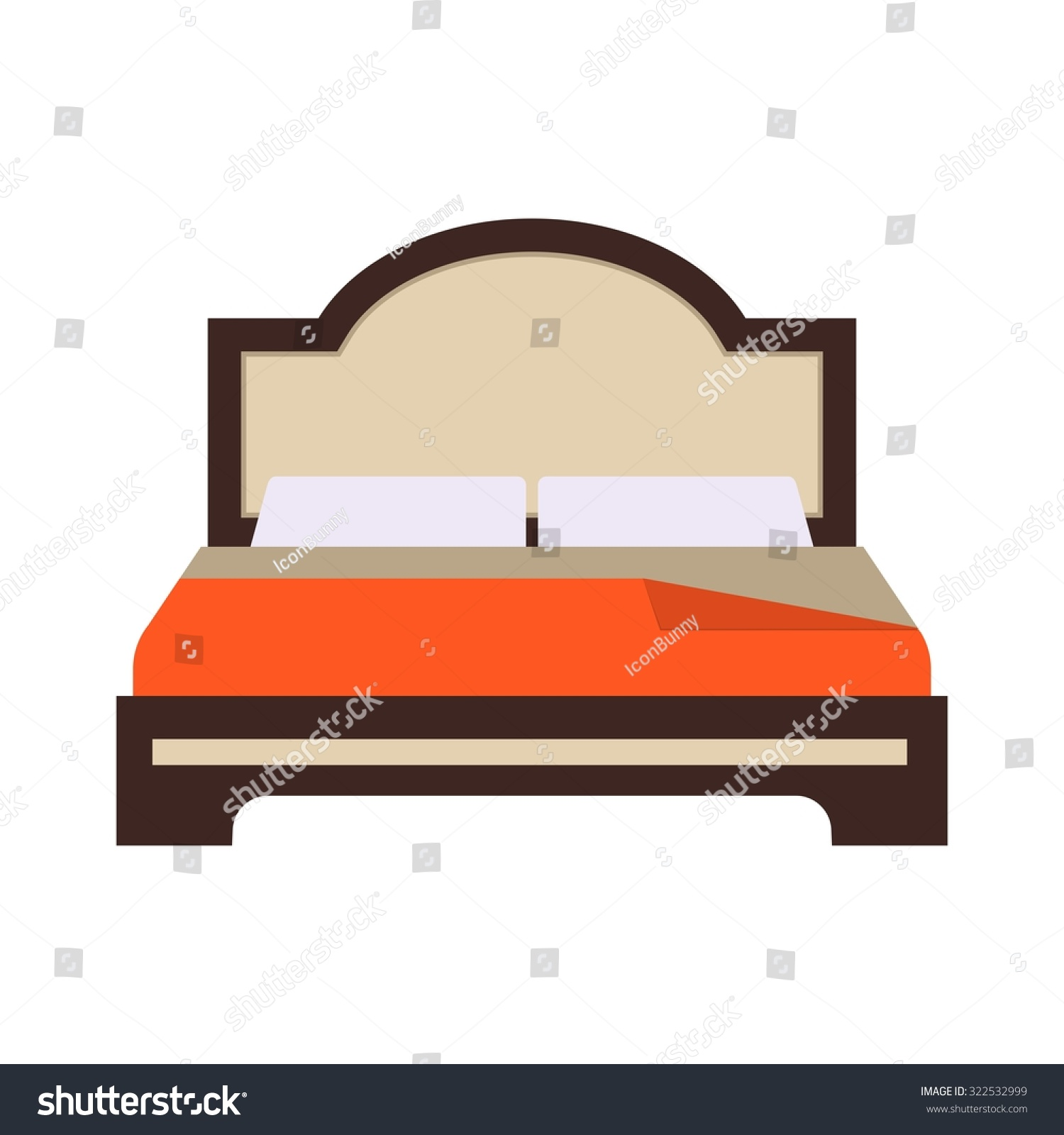 Bed Double Bedroom Icon Vector Image Stock Vector 322532999