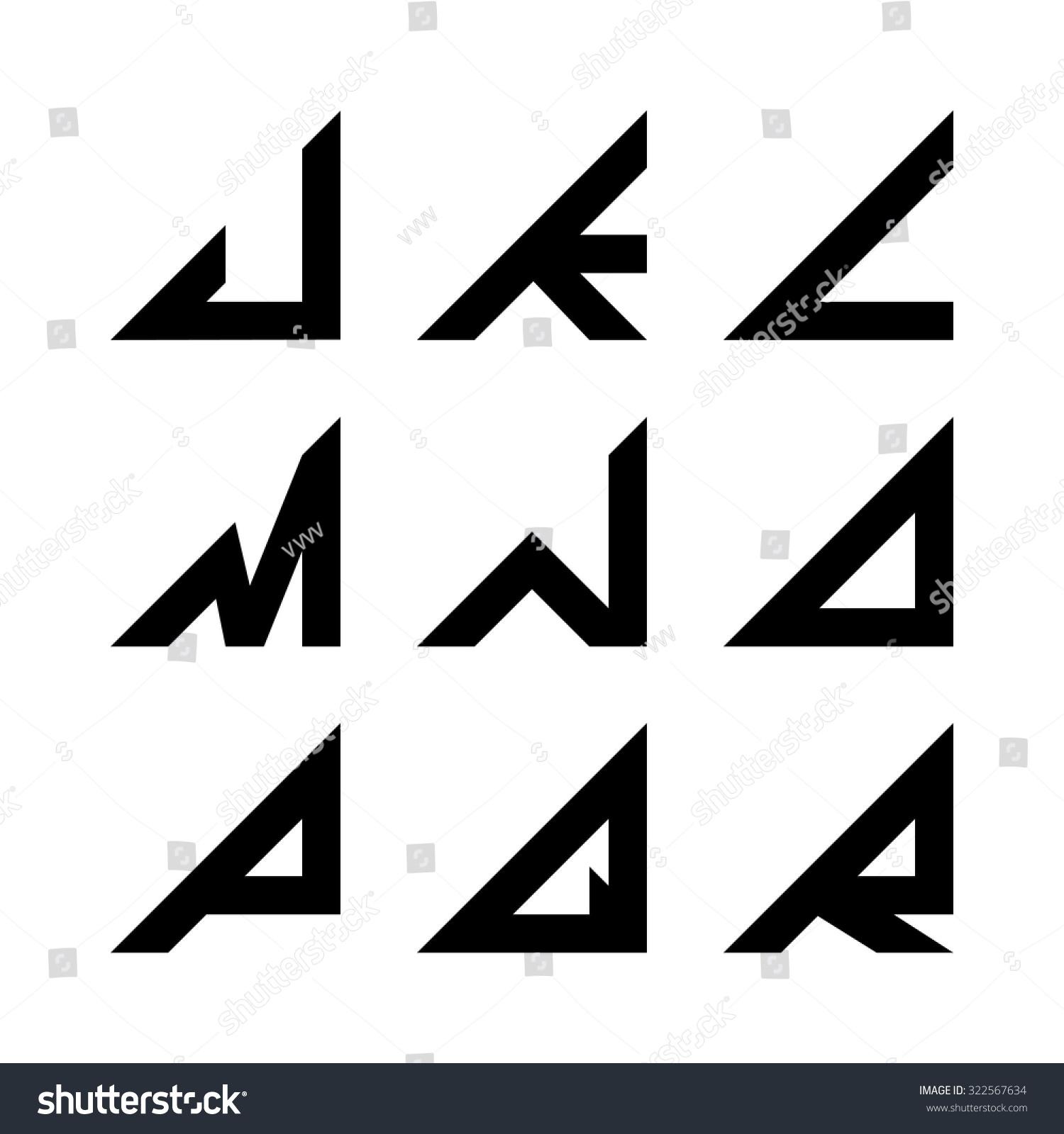 Jr Triangle Shapes Alphabet Letters Font Stock Vector 322567634 ...