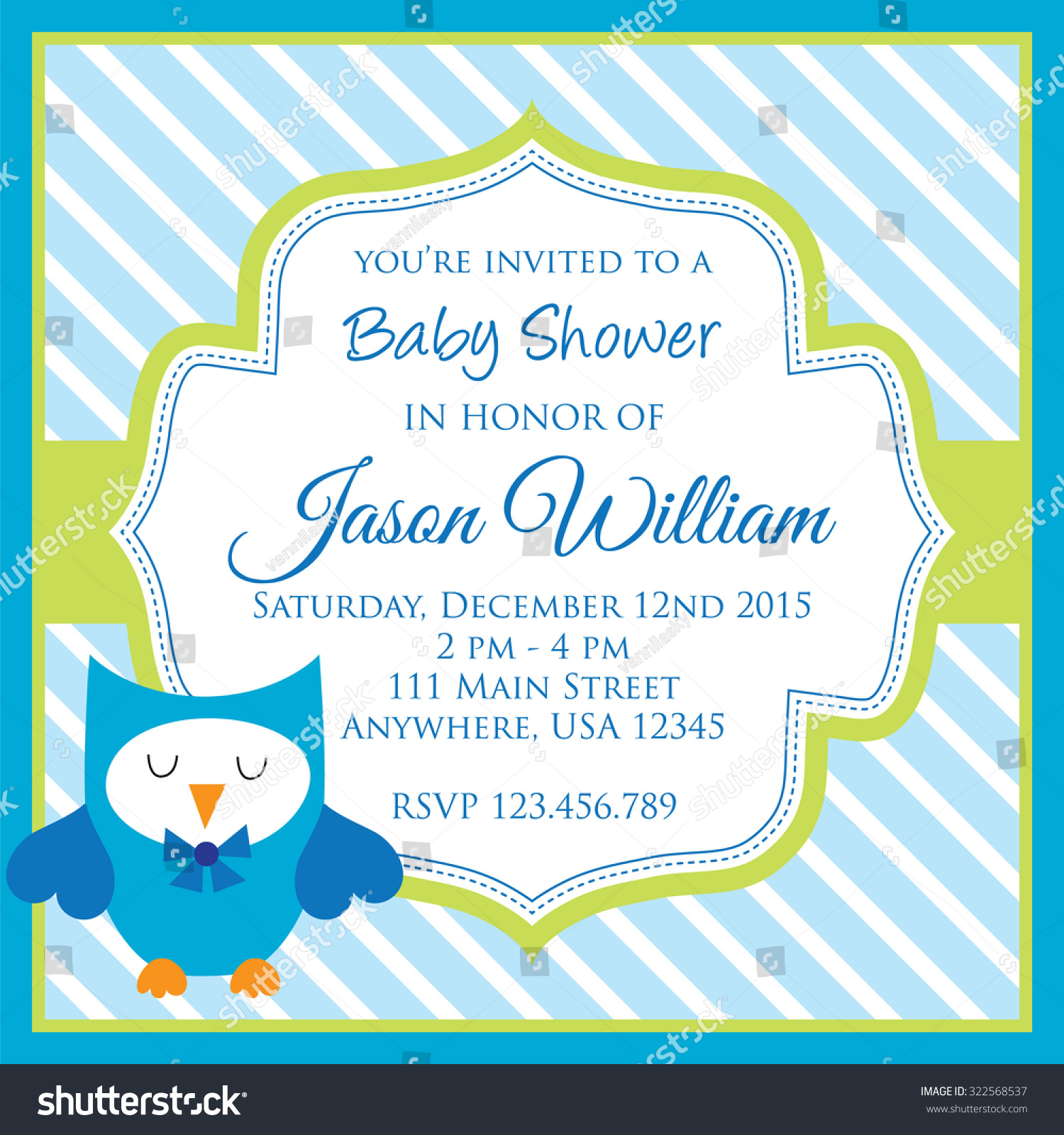 Baby Shower Invitation Cute Owl Blue Stock Vector Royalty Free