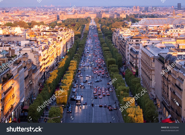 Paris Aerial View Triumphal Arch Champs Stock Photo ...