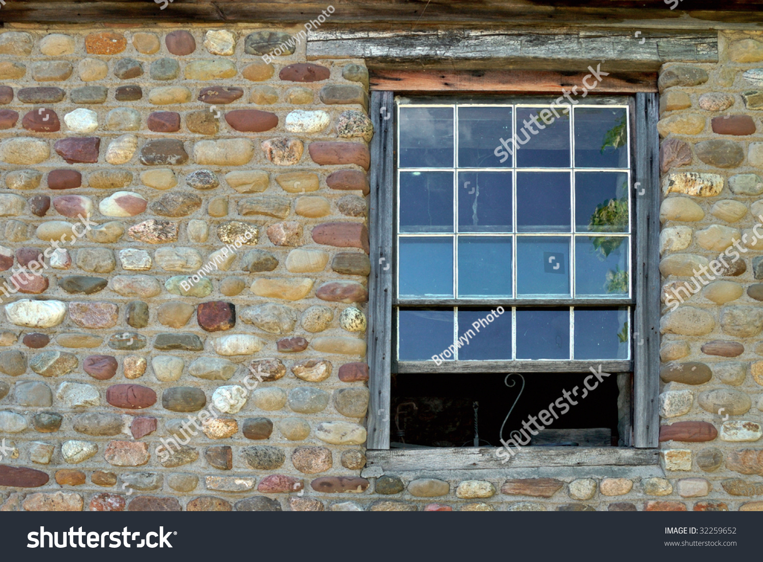Old Window In Cobblestone Building Stock Photo 32259652
