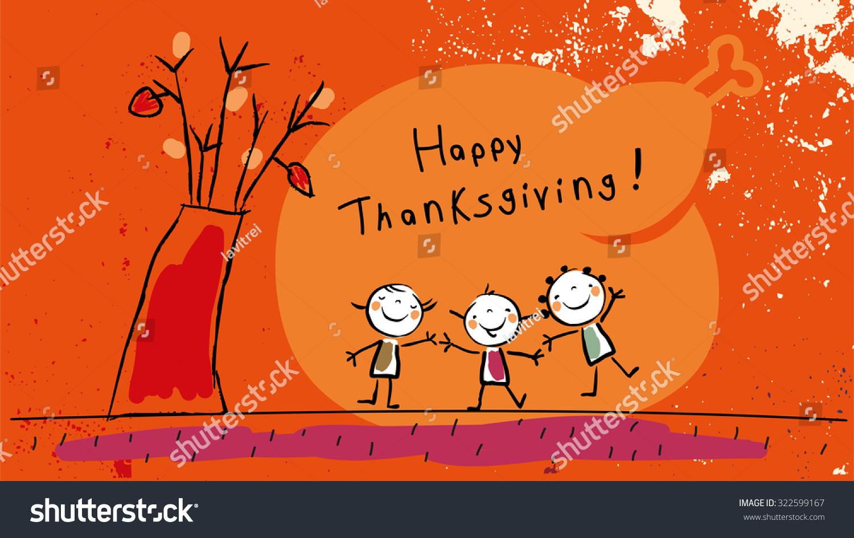 Happy Thanksgiving Kids Vector Illustration Childlike Stock Vector ...