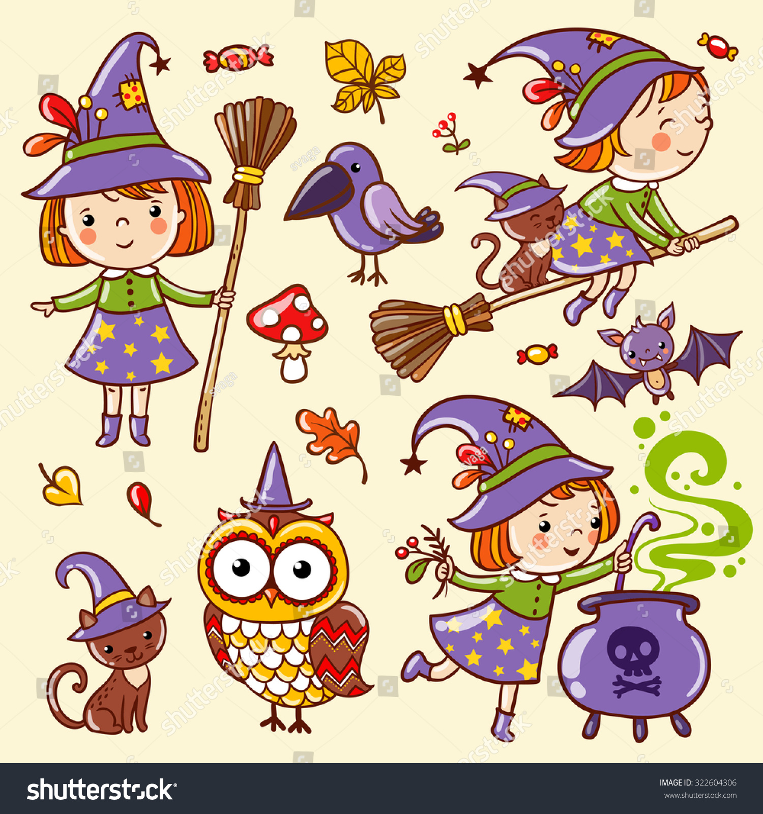Vector set of characters and icons for Halloween in cartoon style Cute witch owl cat