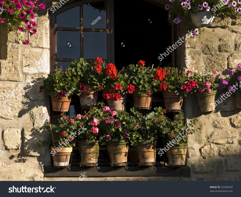 Little Flowers Garden Front Window Arles Stock Photo (Edit Now ...