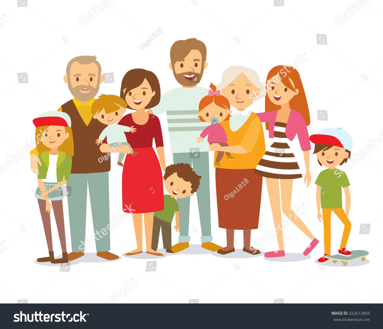 Big Family Portrait Stock Vector 322612859 - Shutterstock