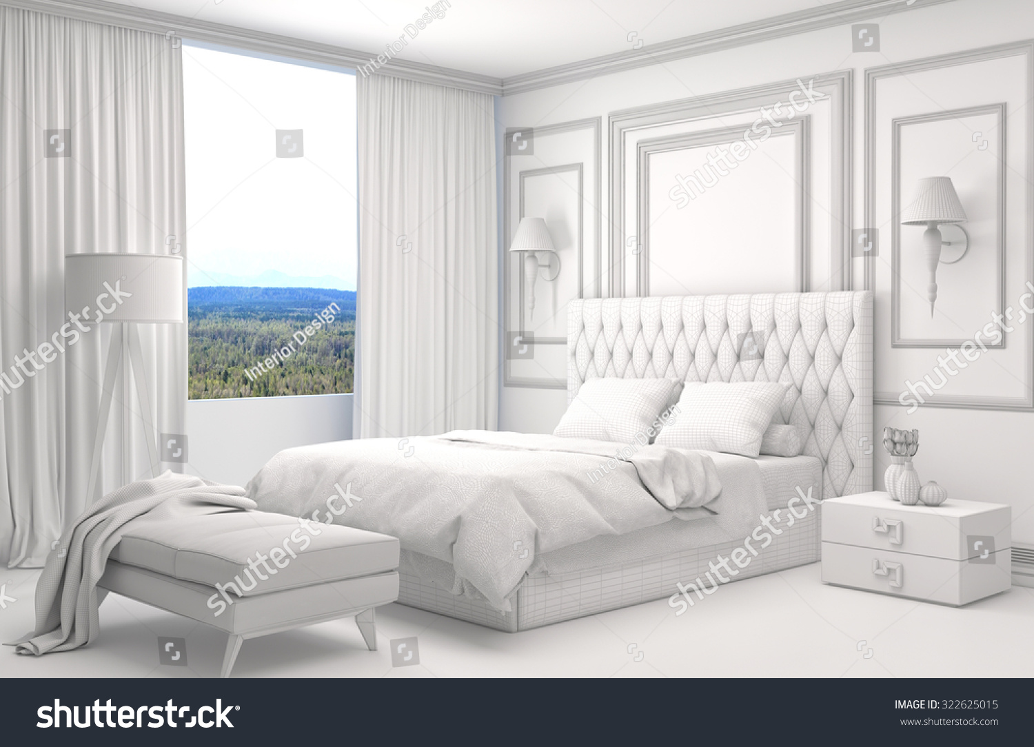 Side View Of An Interior Of A Bedroom With Gray And Light Wooden Wall  Element, A Double Bed And Two Bedside Tables. 3d Rendering. | EZ Canvas