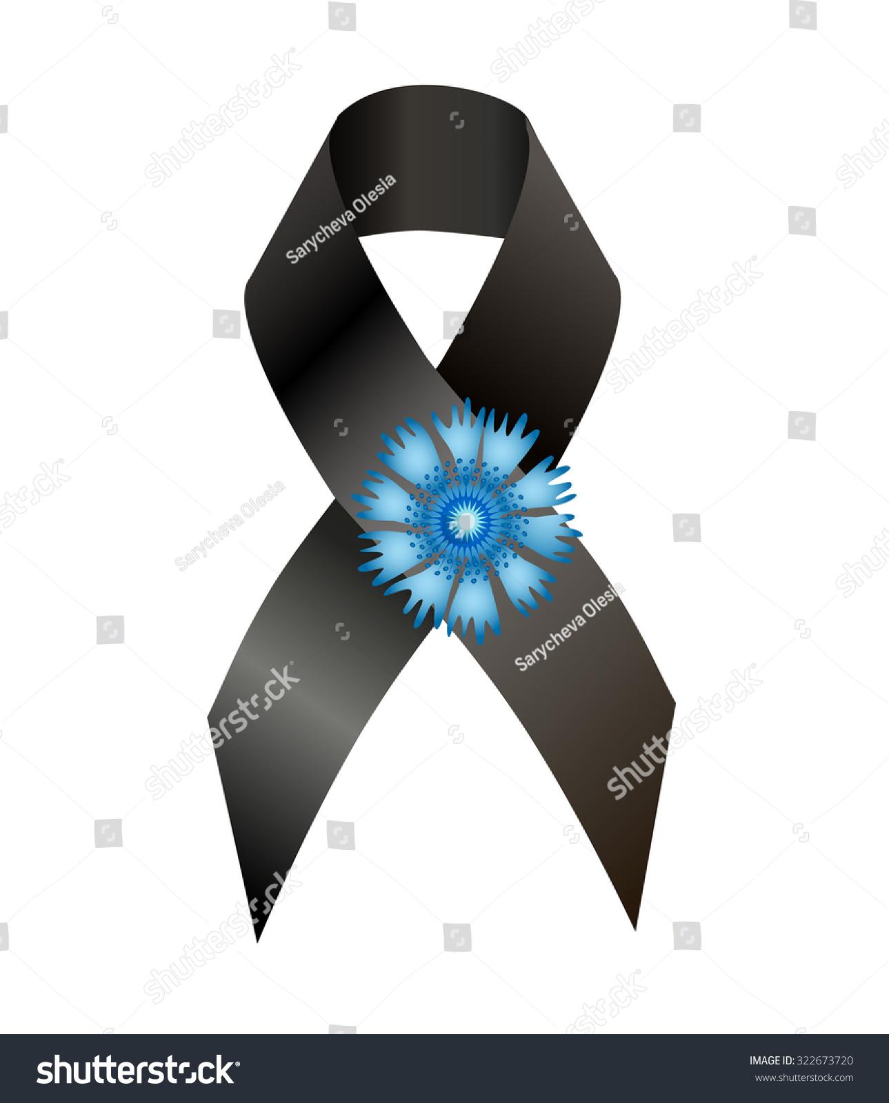 Black Awareness Ribbon Flower Cornflower Symbol Stock Illustration