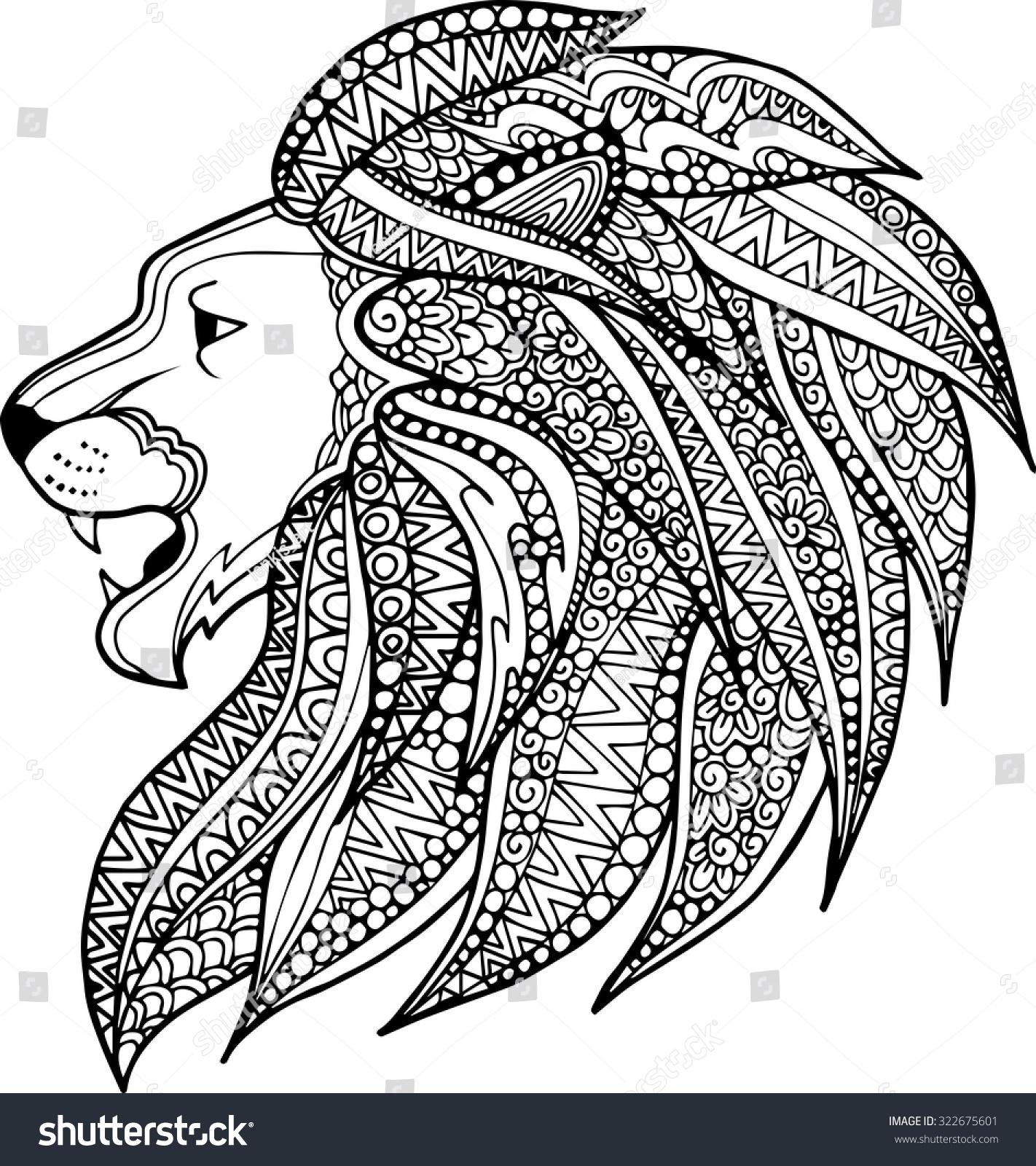 Hand Drawn Ornamental Outline Lion Head Stock Vector