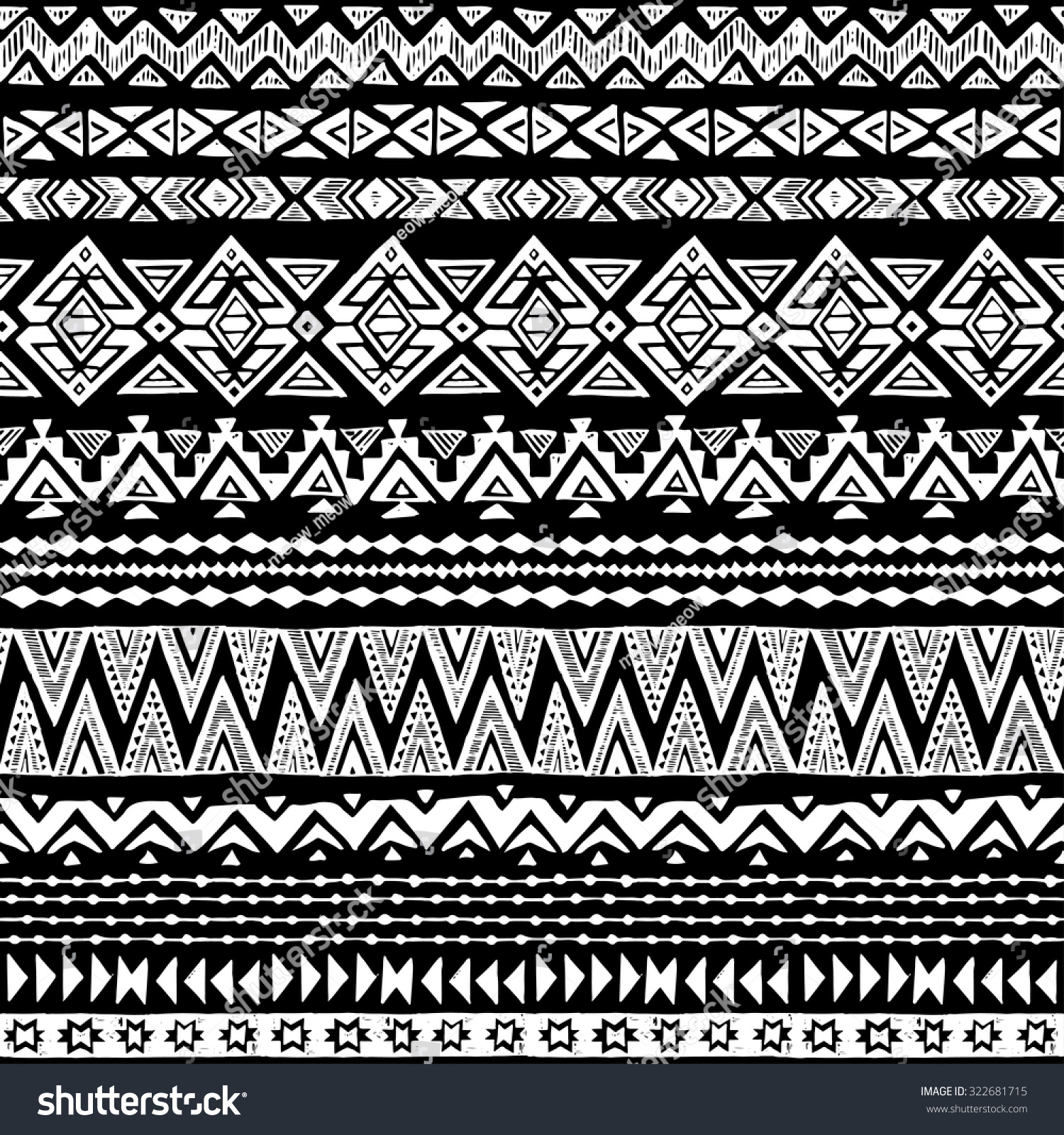 black white tribal navajo seamless pattern stock vector