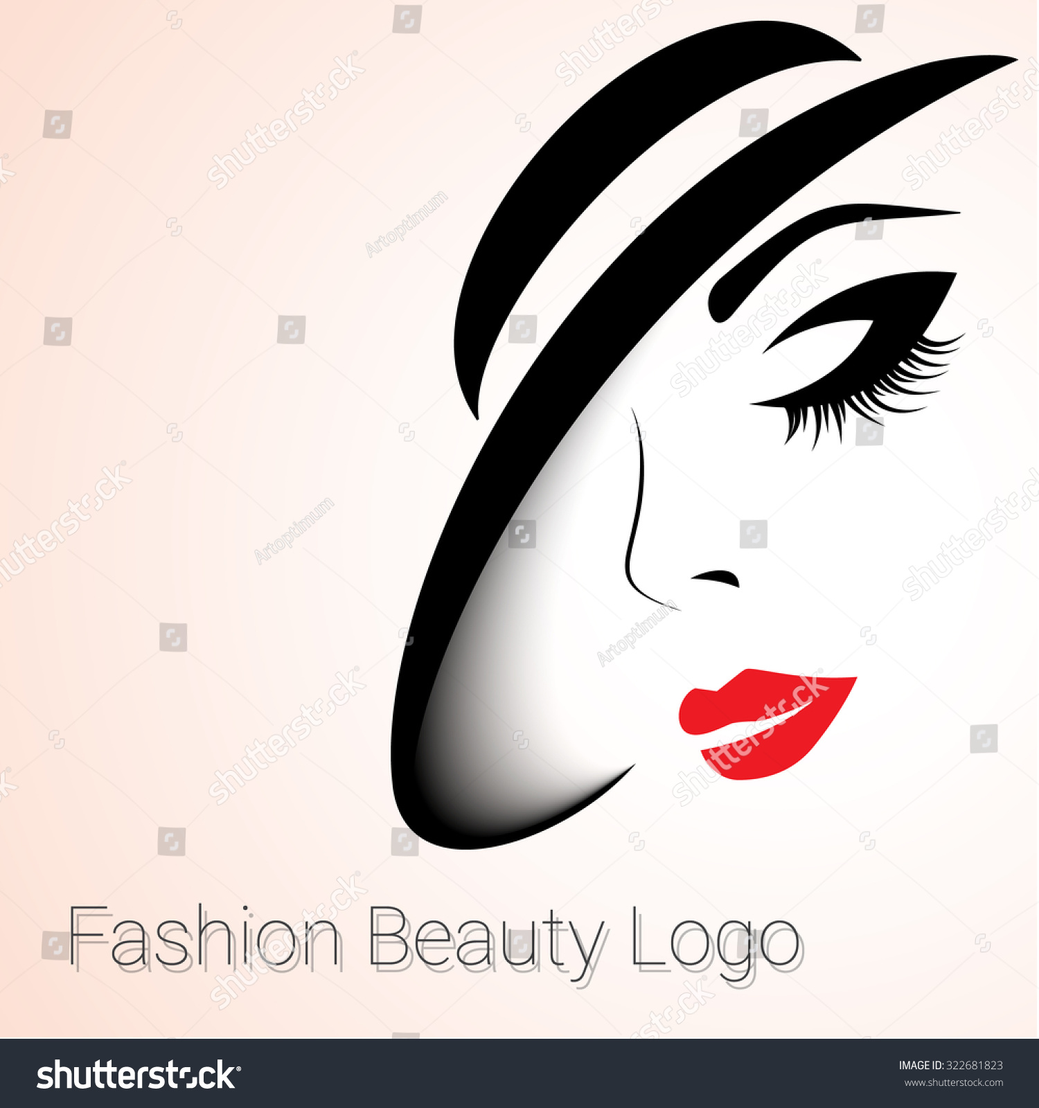 Fashion Beauty Logo Woman Hat Stock Vector 322681823