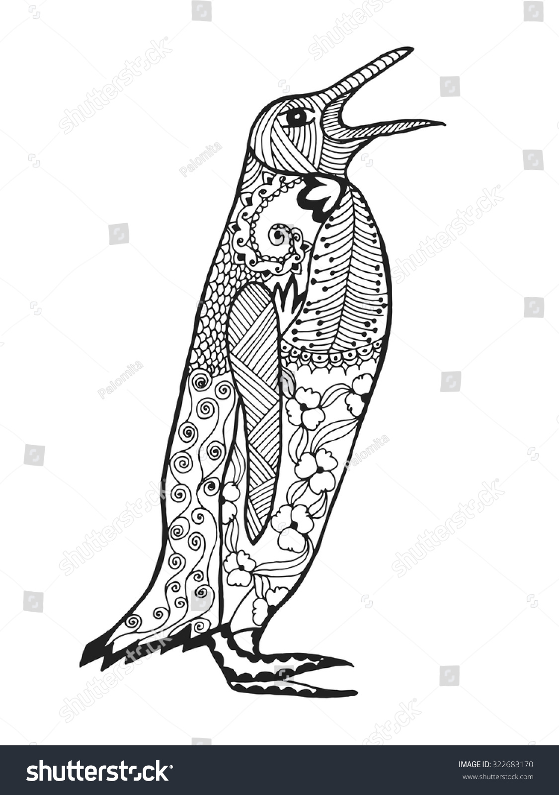 Cute penguin adult antistress coloring page stock vector for Penguin adult coloring pages