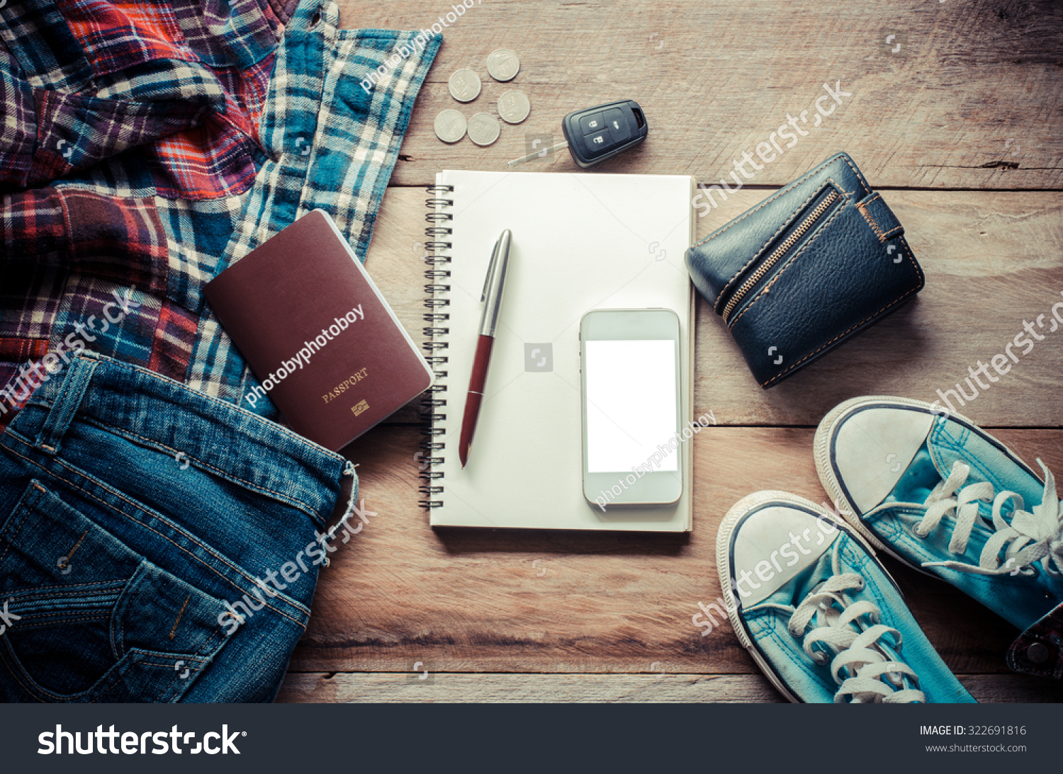 Travel accessories shirts jeans shoes passports stock photo 322691816 shutterstock for Travel gear car