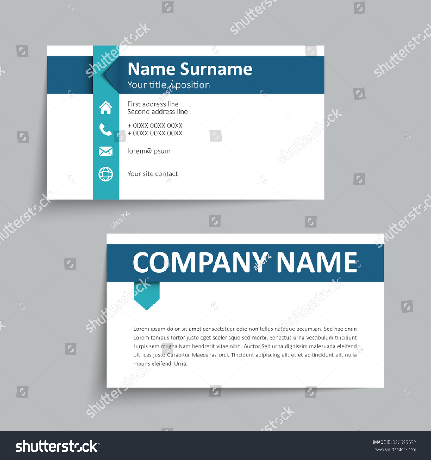 Modern simple business card set template stock vector 322695572 modern simple business card set template or visiting card vector illustration colourmoves