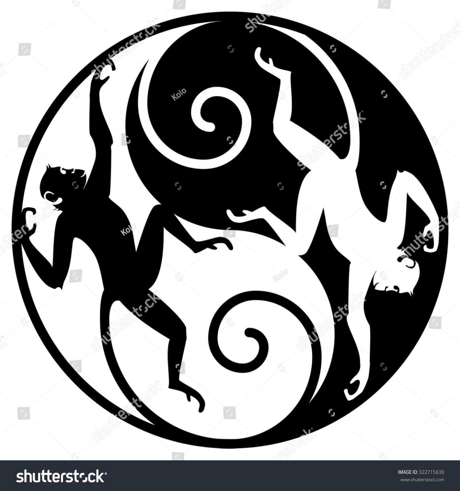 Monkey Yin Yang Yin Yang Symbol Monkeys Stock Illustration 322715630