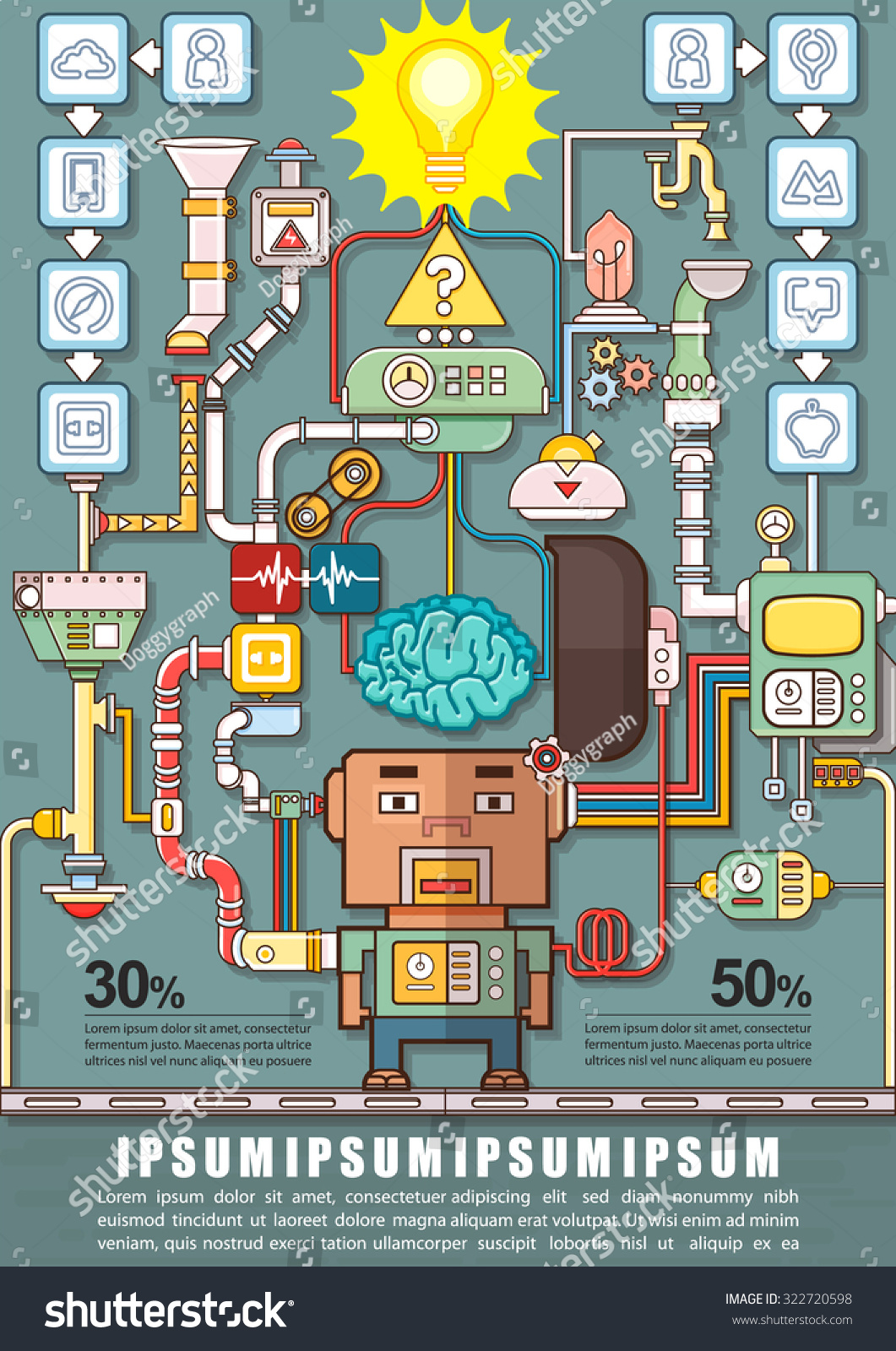 Robotic engineering put brain into robot stock vector royalty free robotic engineering put the brain into a robot robot factory infographics charts symbols ccuart Gallery