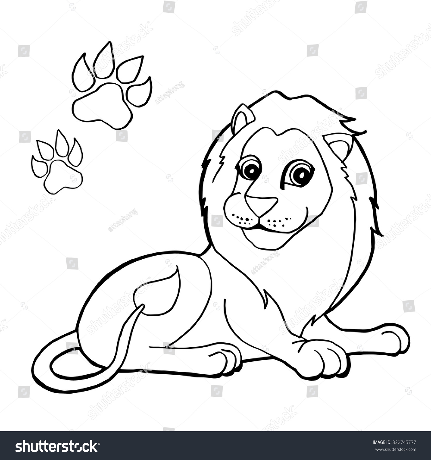 paw print lion coloring pages vector stock vector 322745777