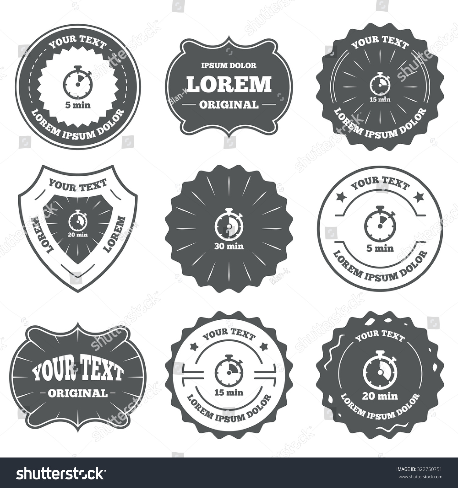 Vintage emblems labels timer icons 5 stock vector 322750751 vintage emblems labels timer icons 5 15 20 and 30 minutes buycottarizona