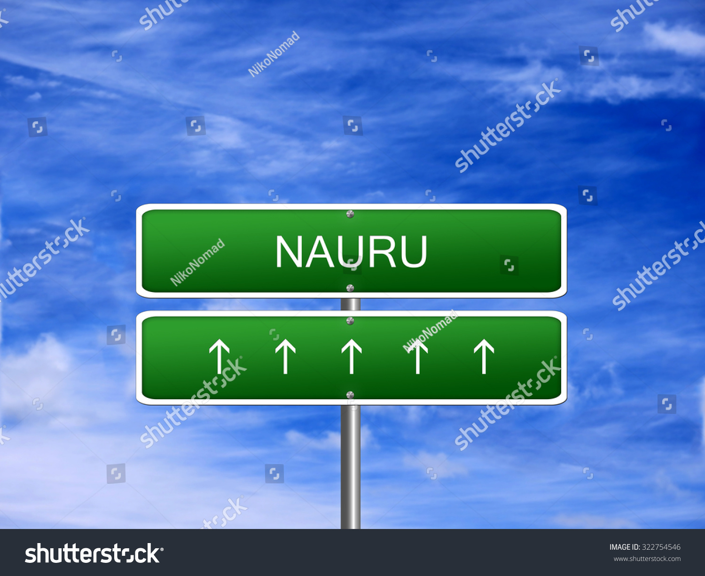 Nauru Welcome Travel Landmark Landscape Map Stock Illustration