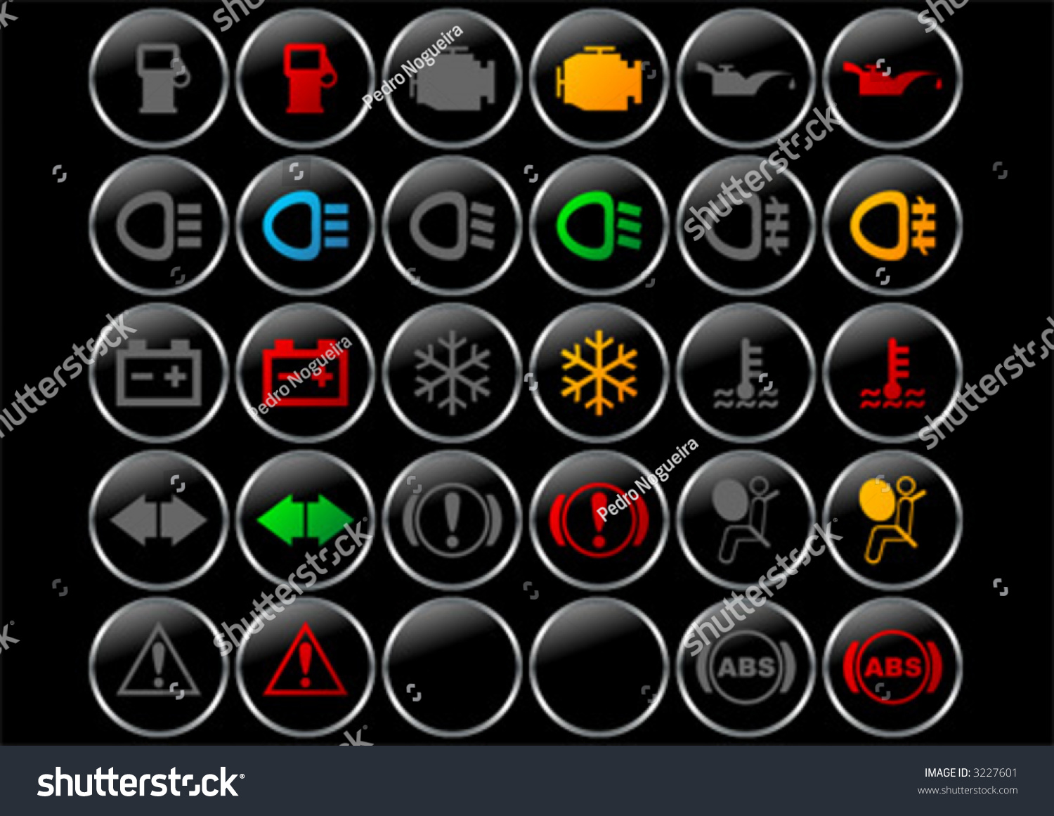 different car dashboard symbols lights on stock vector