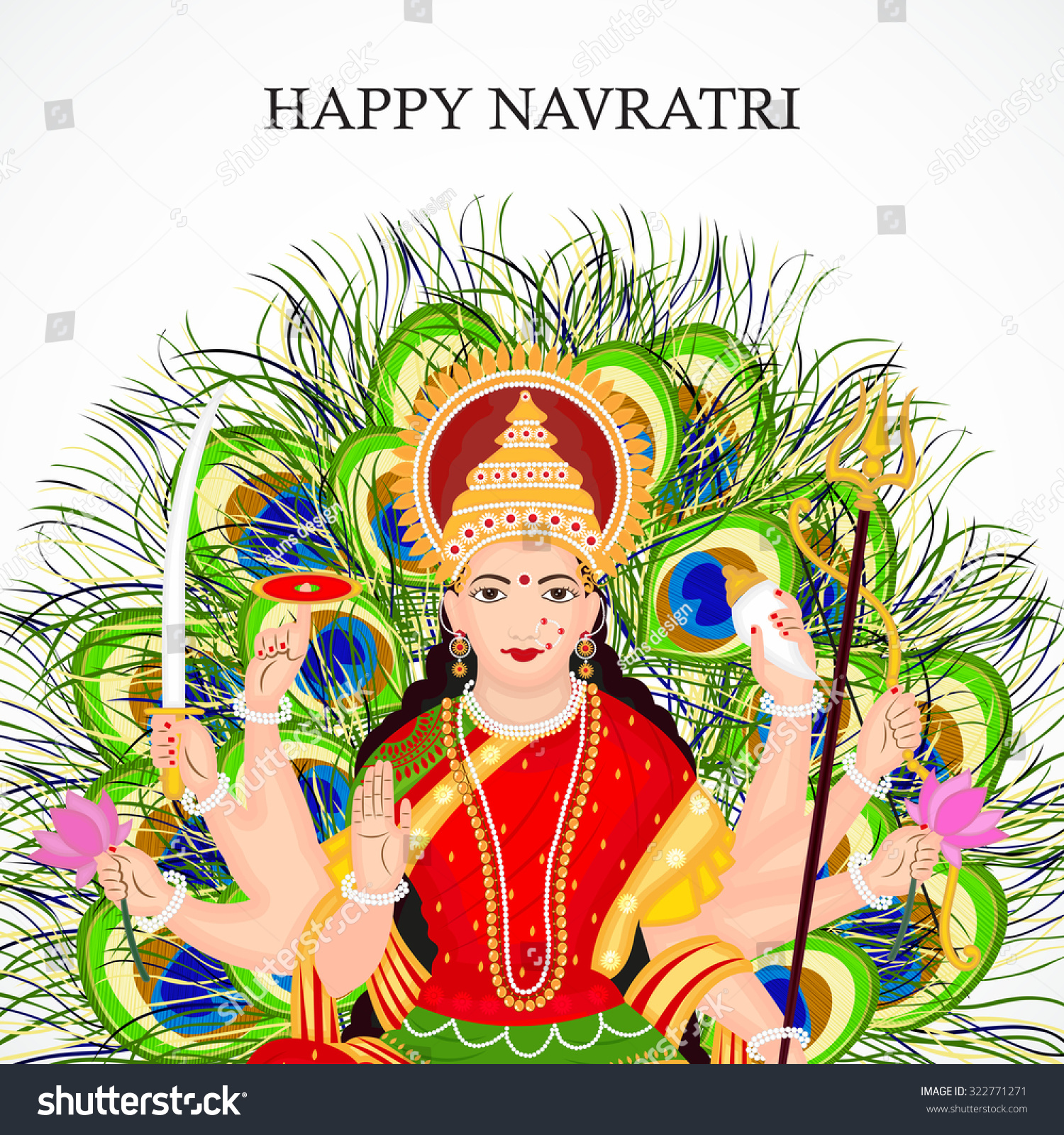 vector illustration happy navratri dandiya festival stock