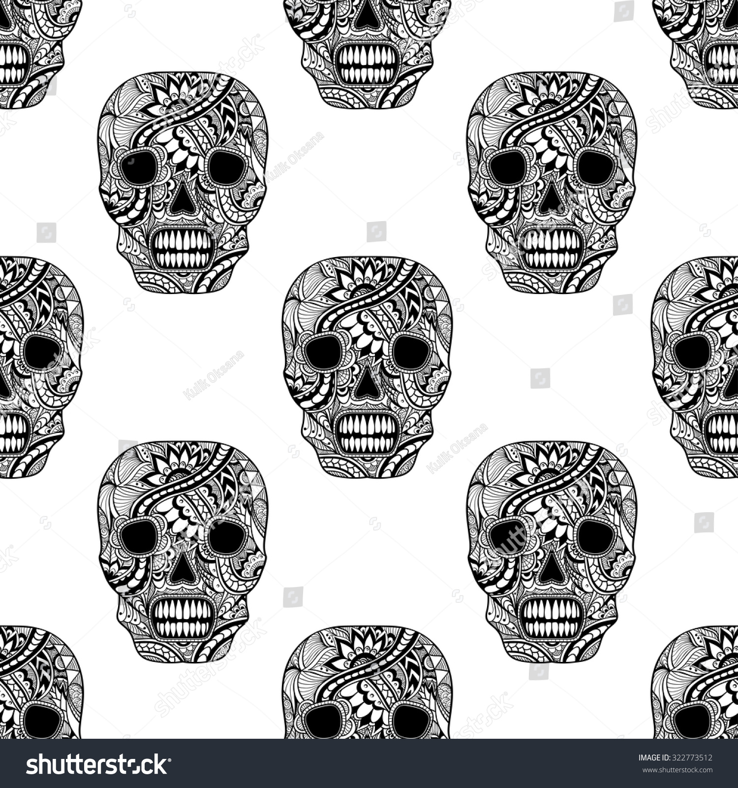 Seamless Pattern Decorate Skull Painted Ornament Stock Vector