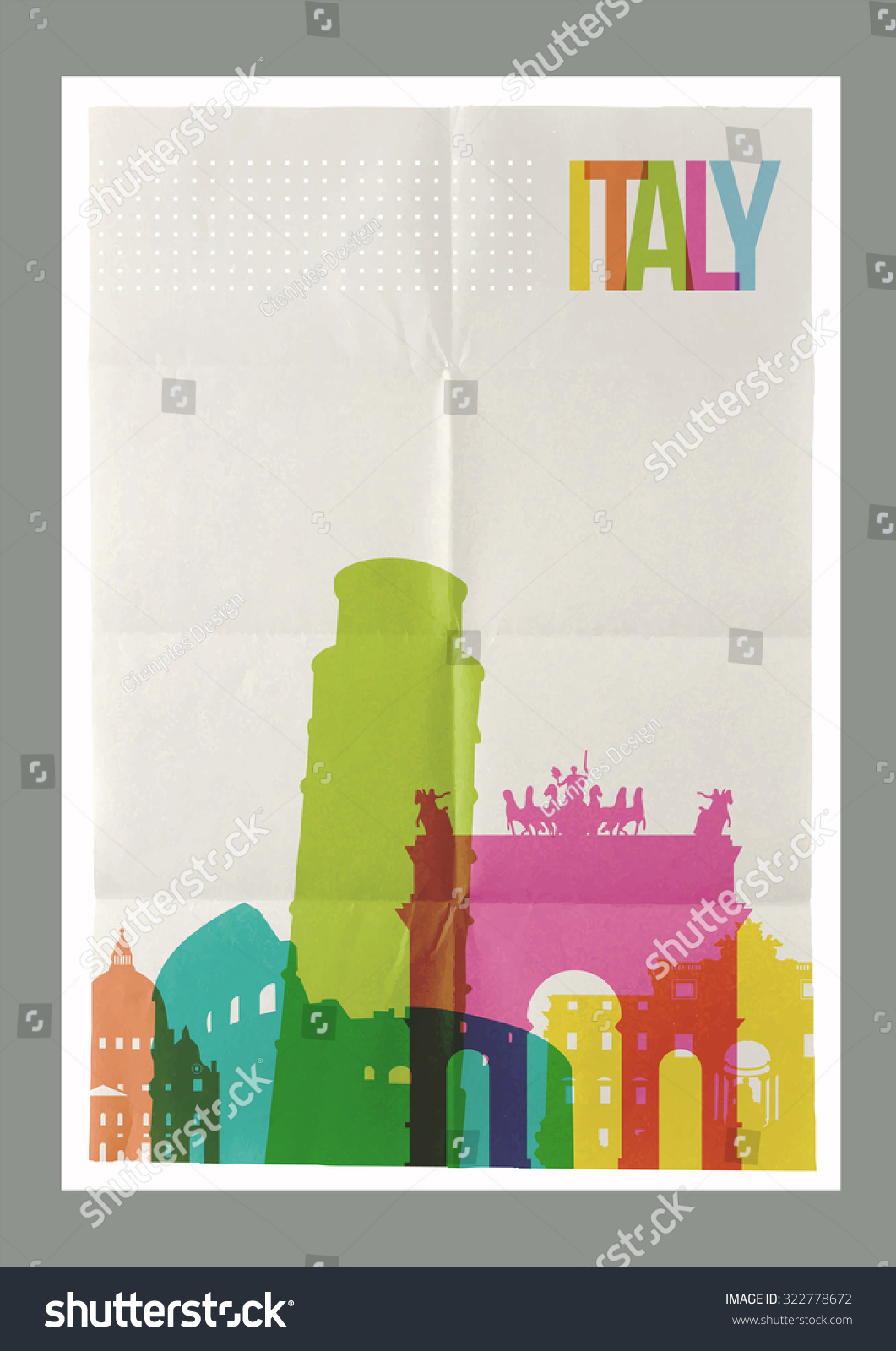 Poster design your own - Travel Italy Famous Landmarks Skyline On Vintage Paper Sheet Poster Design Background Create Your Own