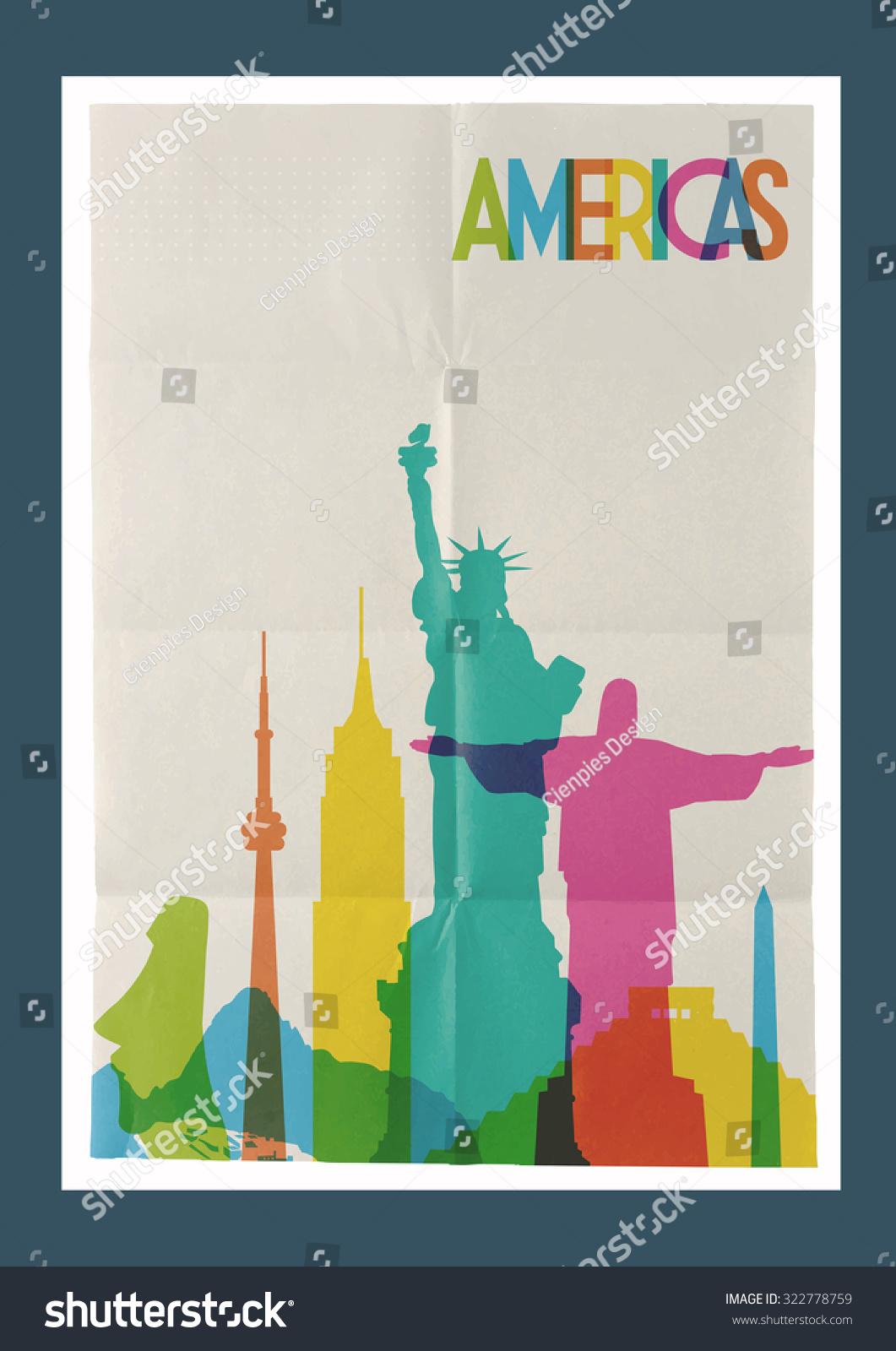 Poster design canva - Poster Design Your Own Travel The Americas Famous Landmarks Skyline On Vintage Paper Poster Sheet