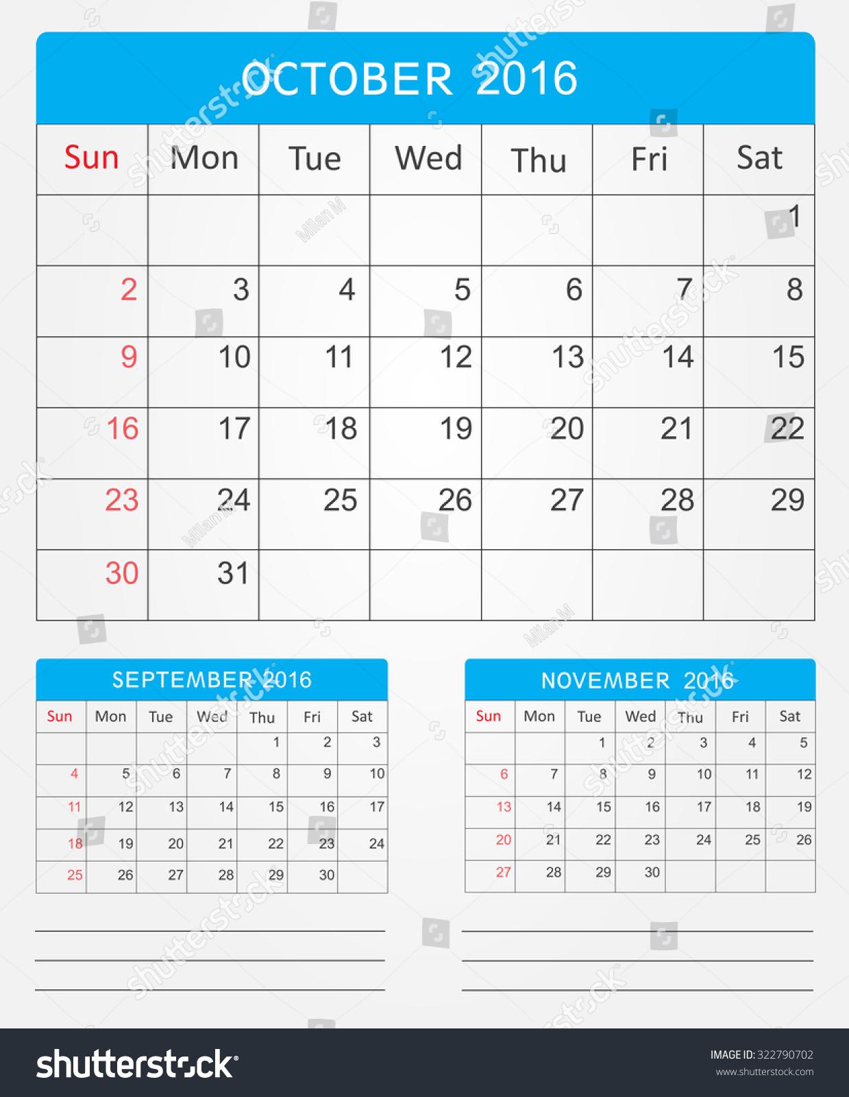 October Calendar Illustration : October planning calendar vector