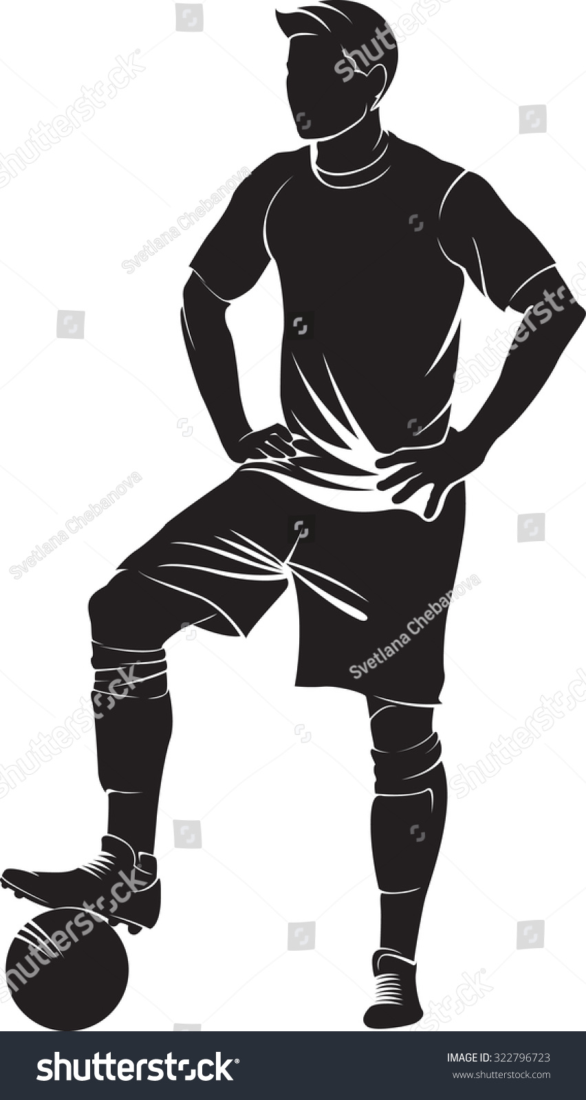 Football Soccer Player Ball Isolated On Stock Vector 322796723 ...