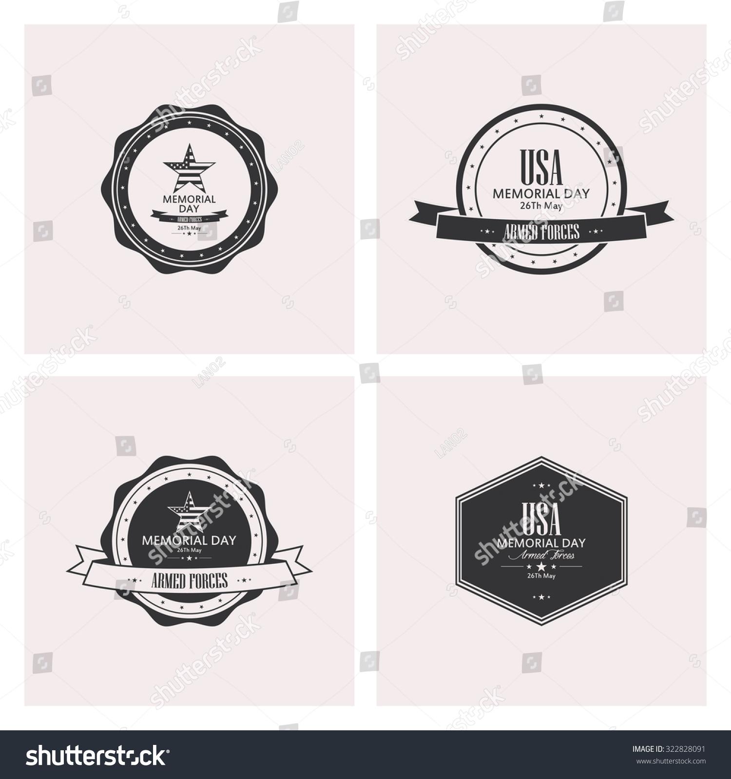 Set of memorial day labels