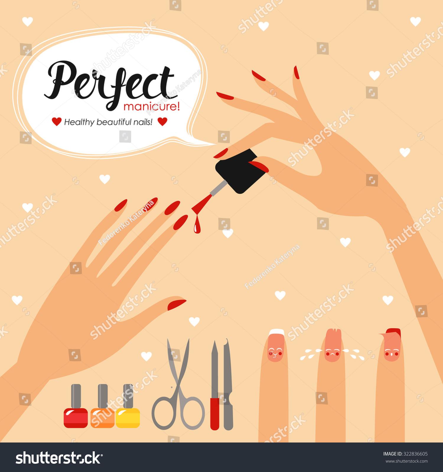 Nail Health Banner Care Hands Nails Stock Vector 322836605 ...