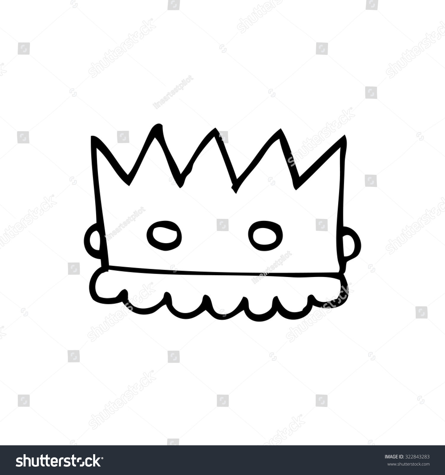 Simple Black White Line Drawing Cartoon Stock Vector Royalty Free 322843283 Set of 7 vector monochrome crowns for your cards, backgrounds, postcards, illustrations and other designs. shutterstock