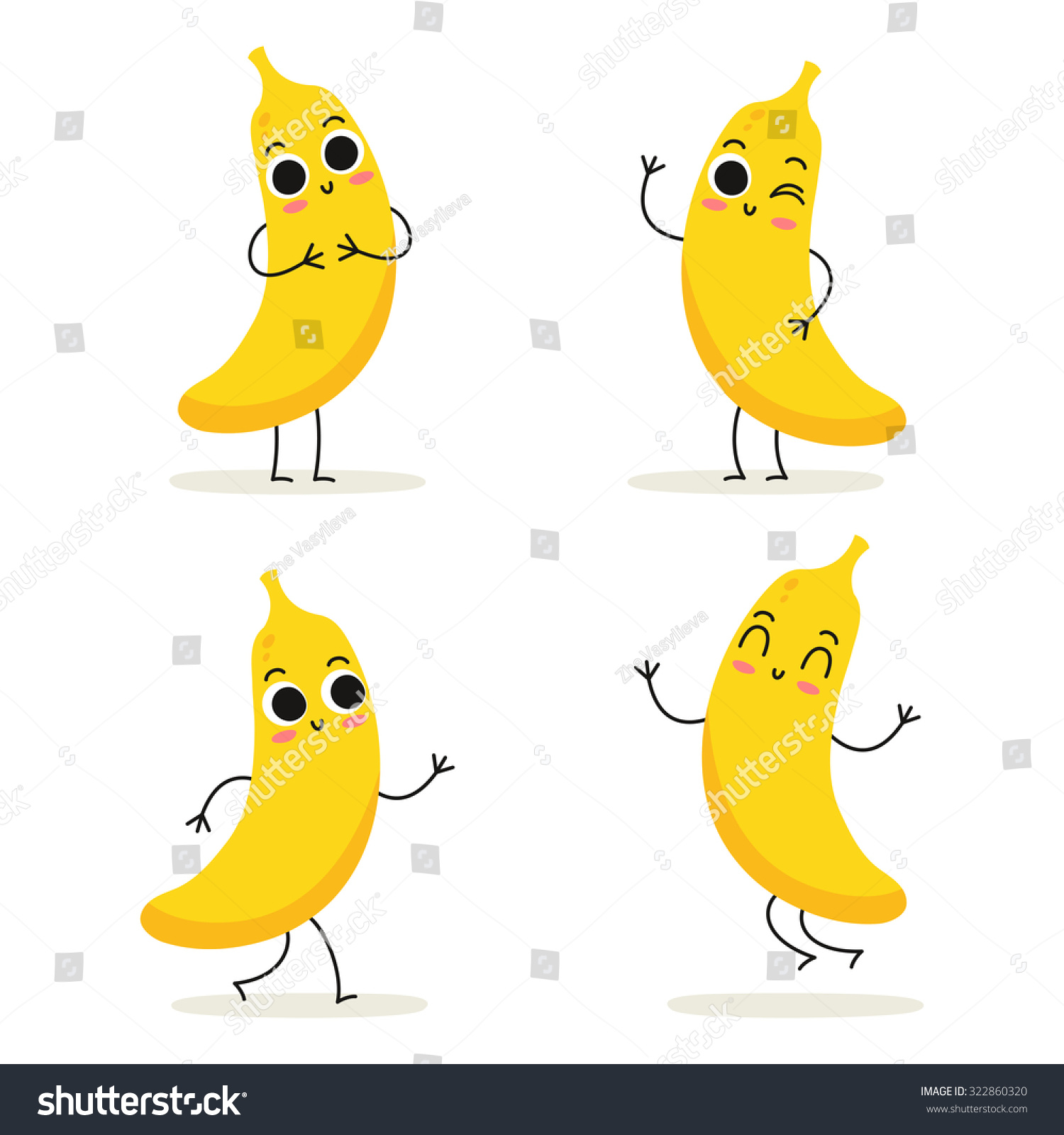 Banana Cute Fruit Vector Character Set Stock Vector ...