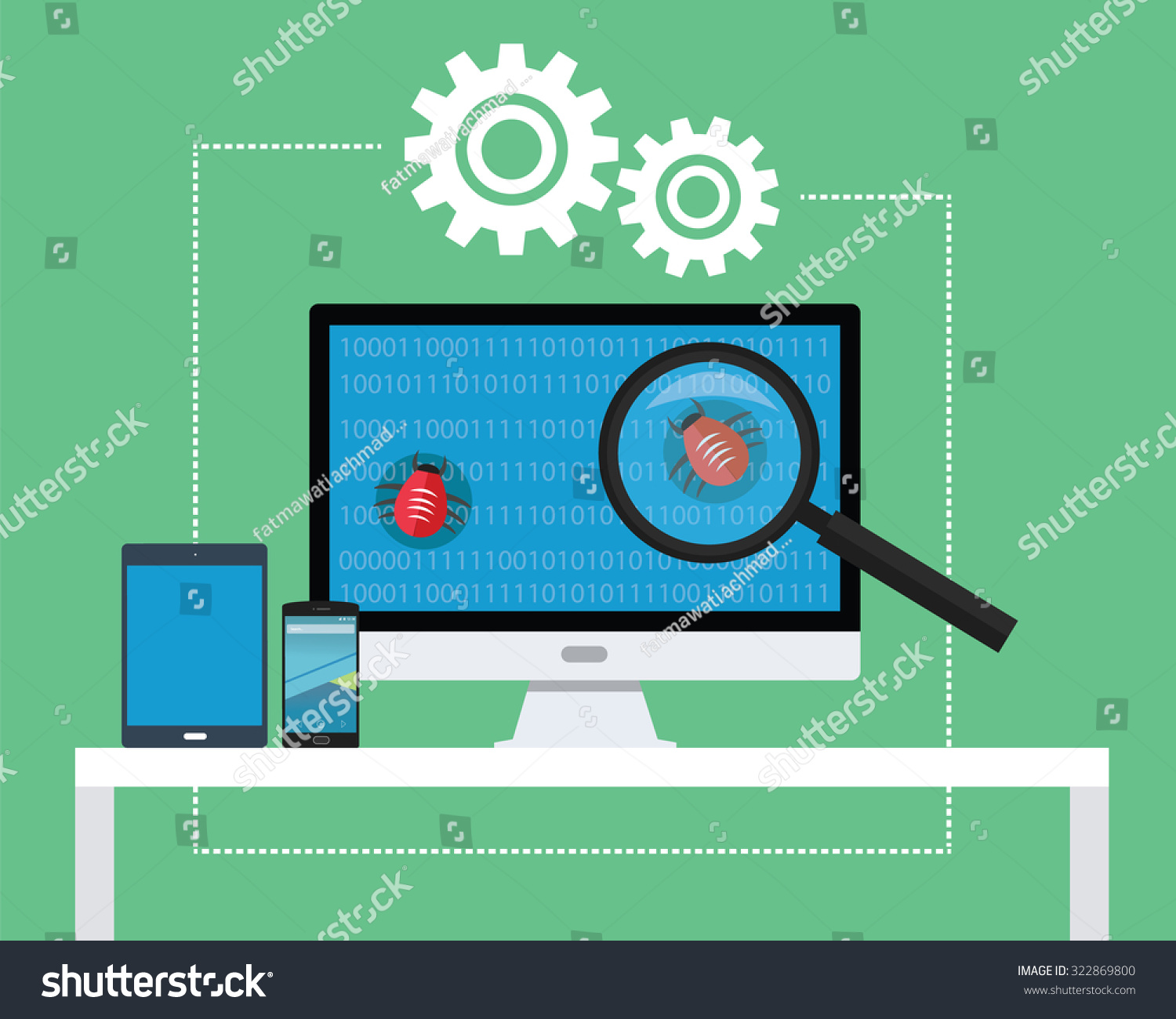 Software testing all devices find bugs stock vector Vector image software