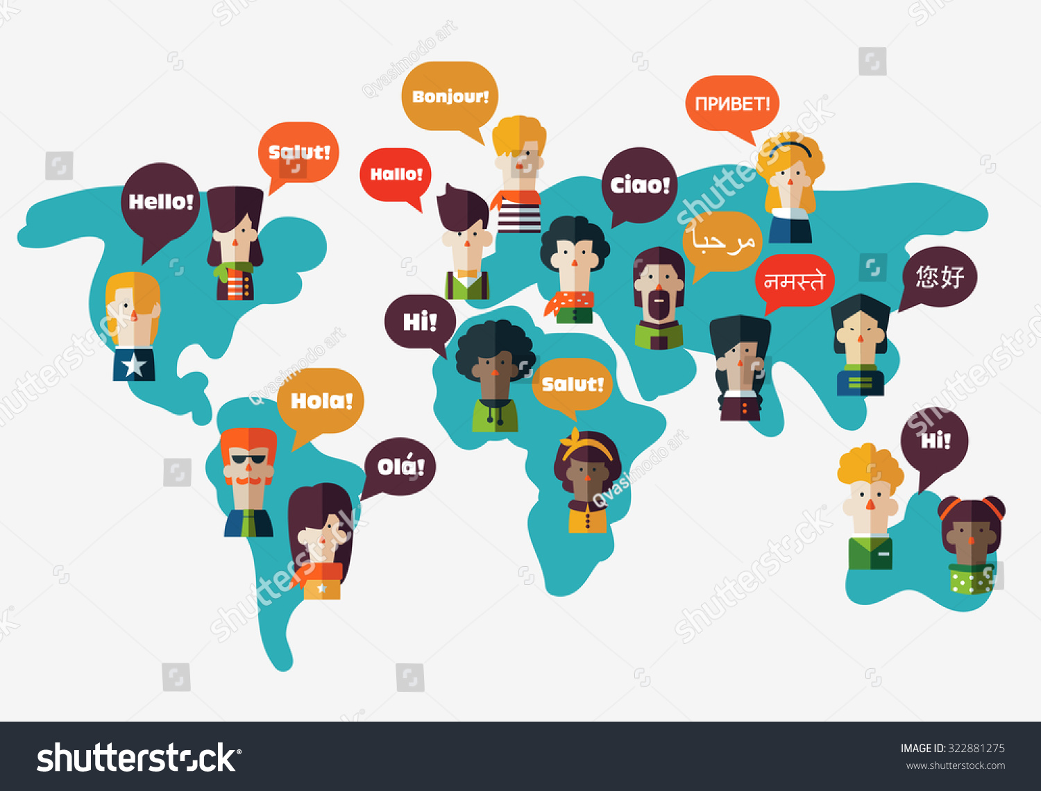 Set Social People On World Map Stock Vector 322881275 -2627