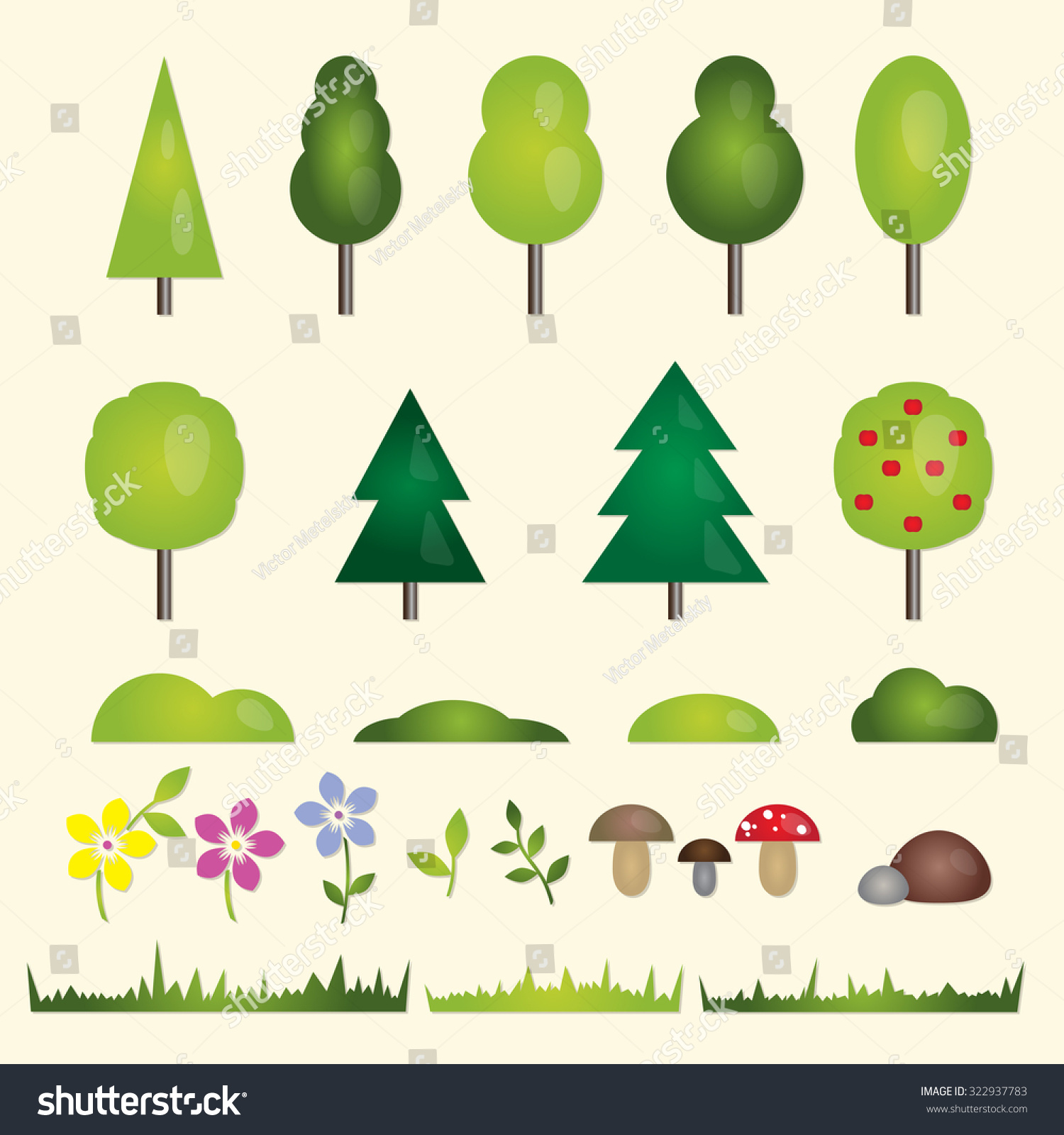 Forest garden flat symbols landscape trees stock illustration forest and garden flat symbols of the landscape trees fir trees spruce buycottarizona Image collections