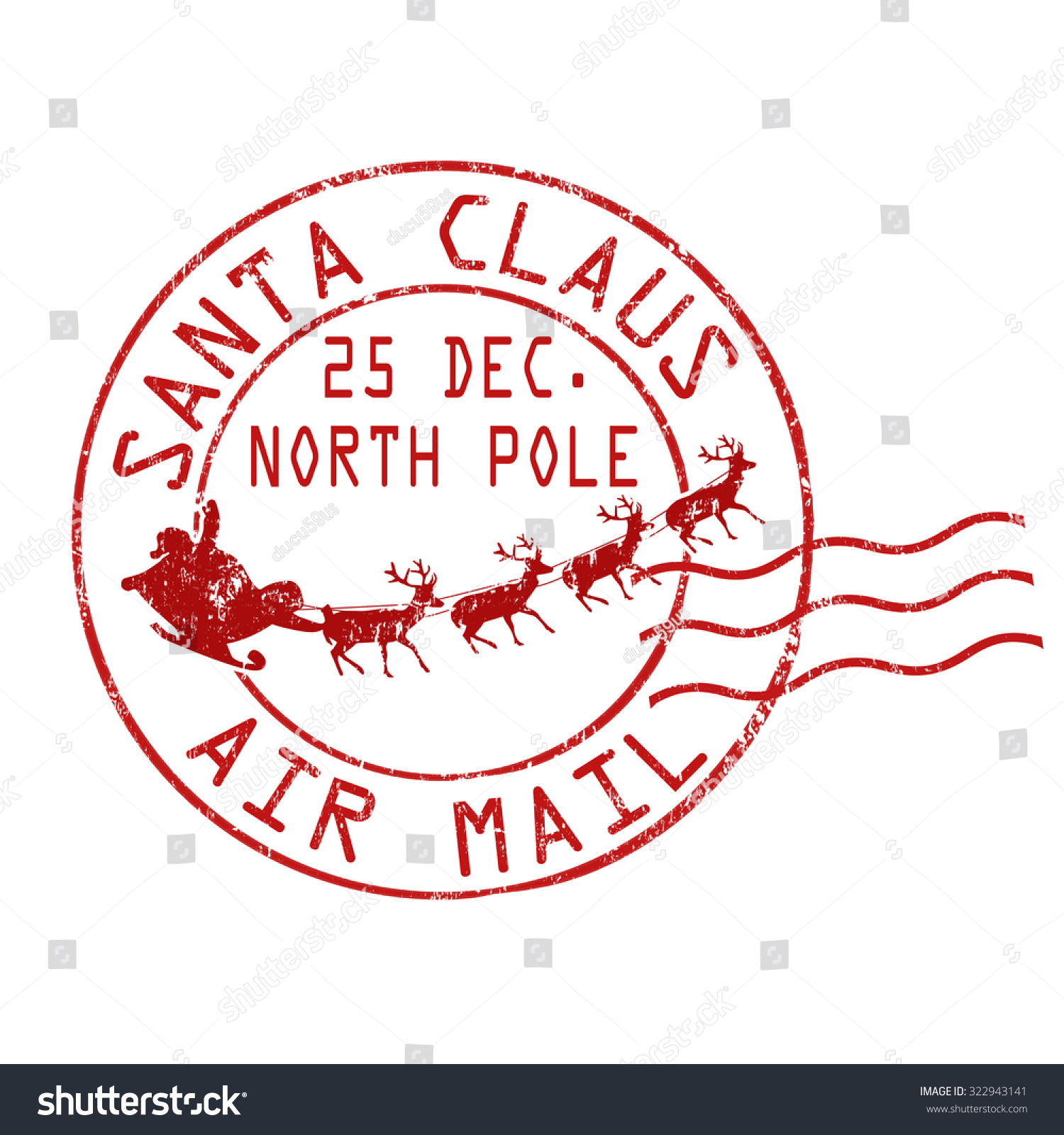 Santa Claus air mail grunge rubber stamp on white background, vector ...