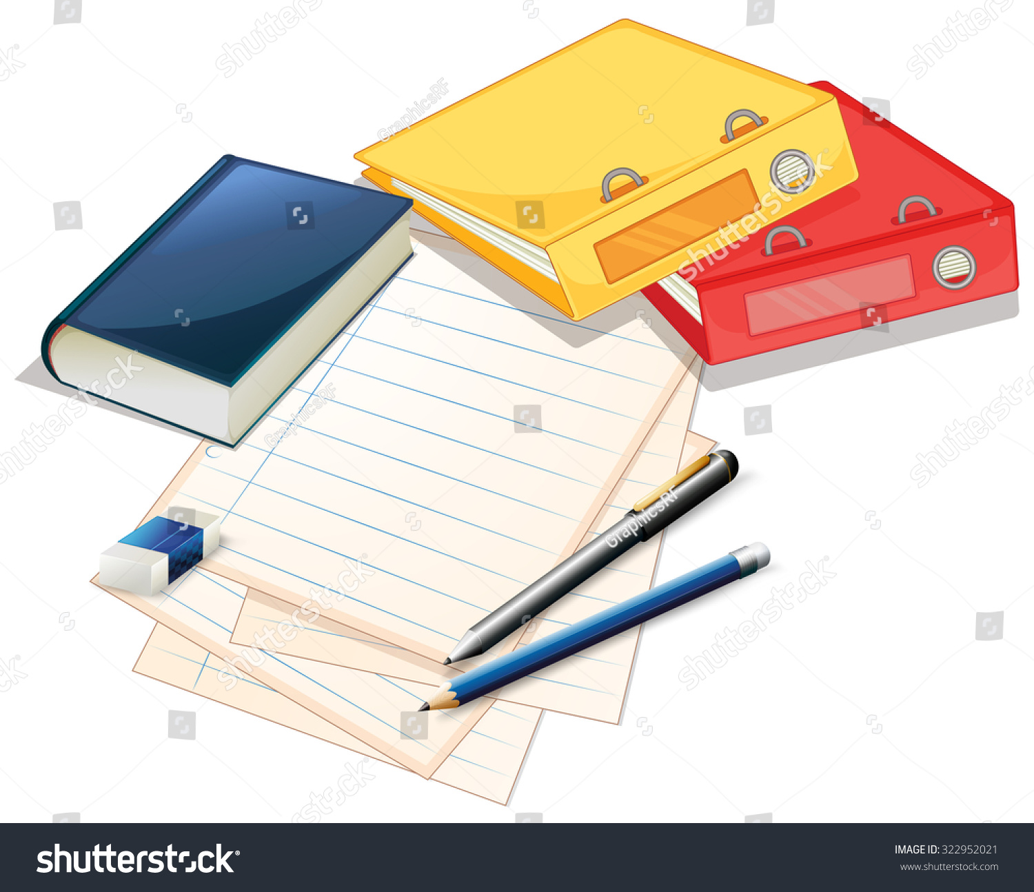 Pile Papers Files Illustration Stock Vector 322952021 ...