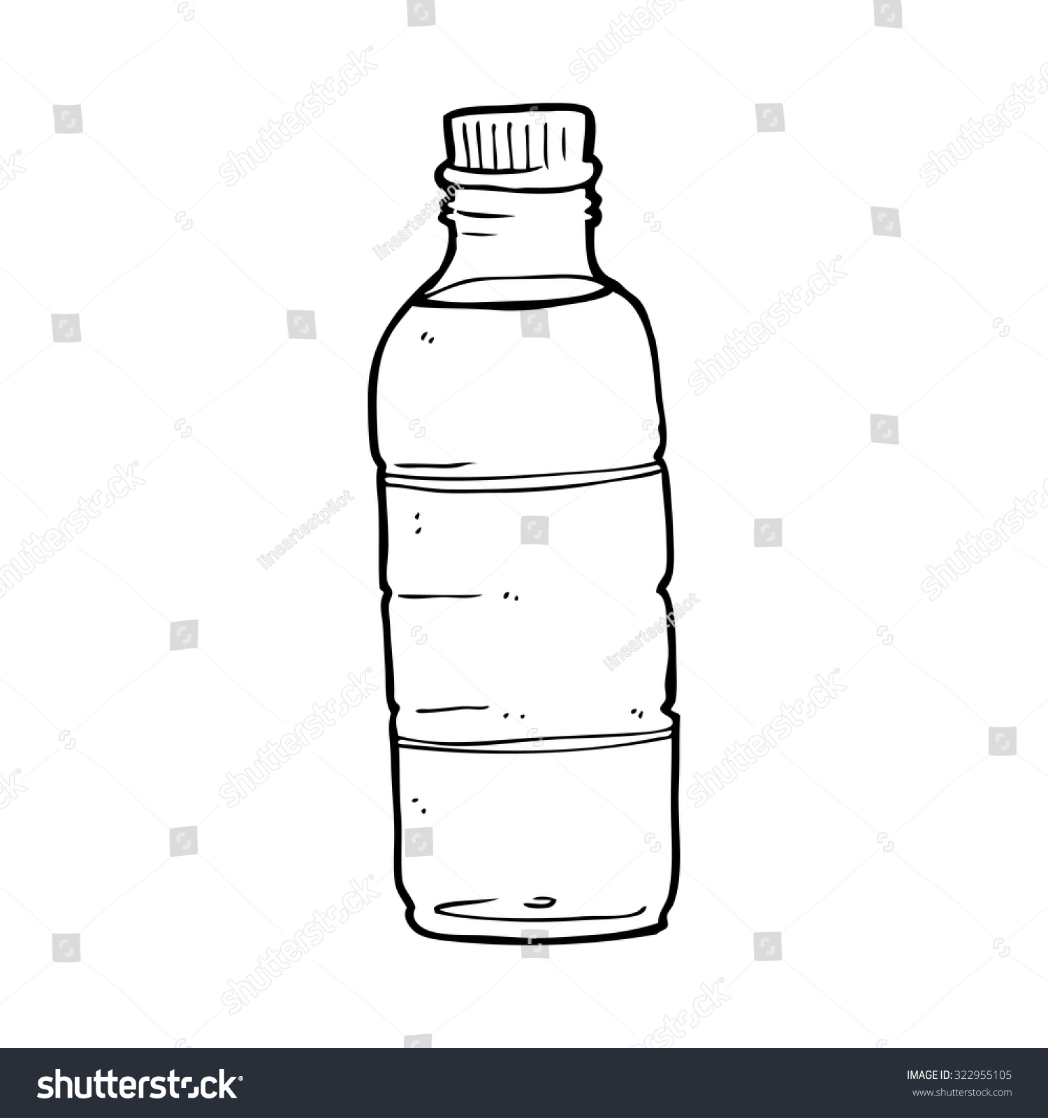 Line Drawing Water : Simple black and white line drawing cartoon water bottle