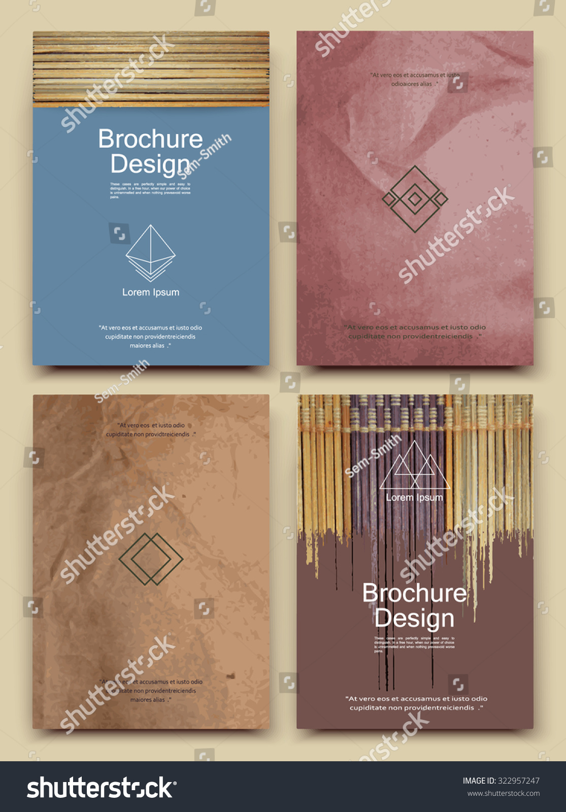 Abstract Composition Business Card Set Bamboo Stock Vector 322957247 ...