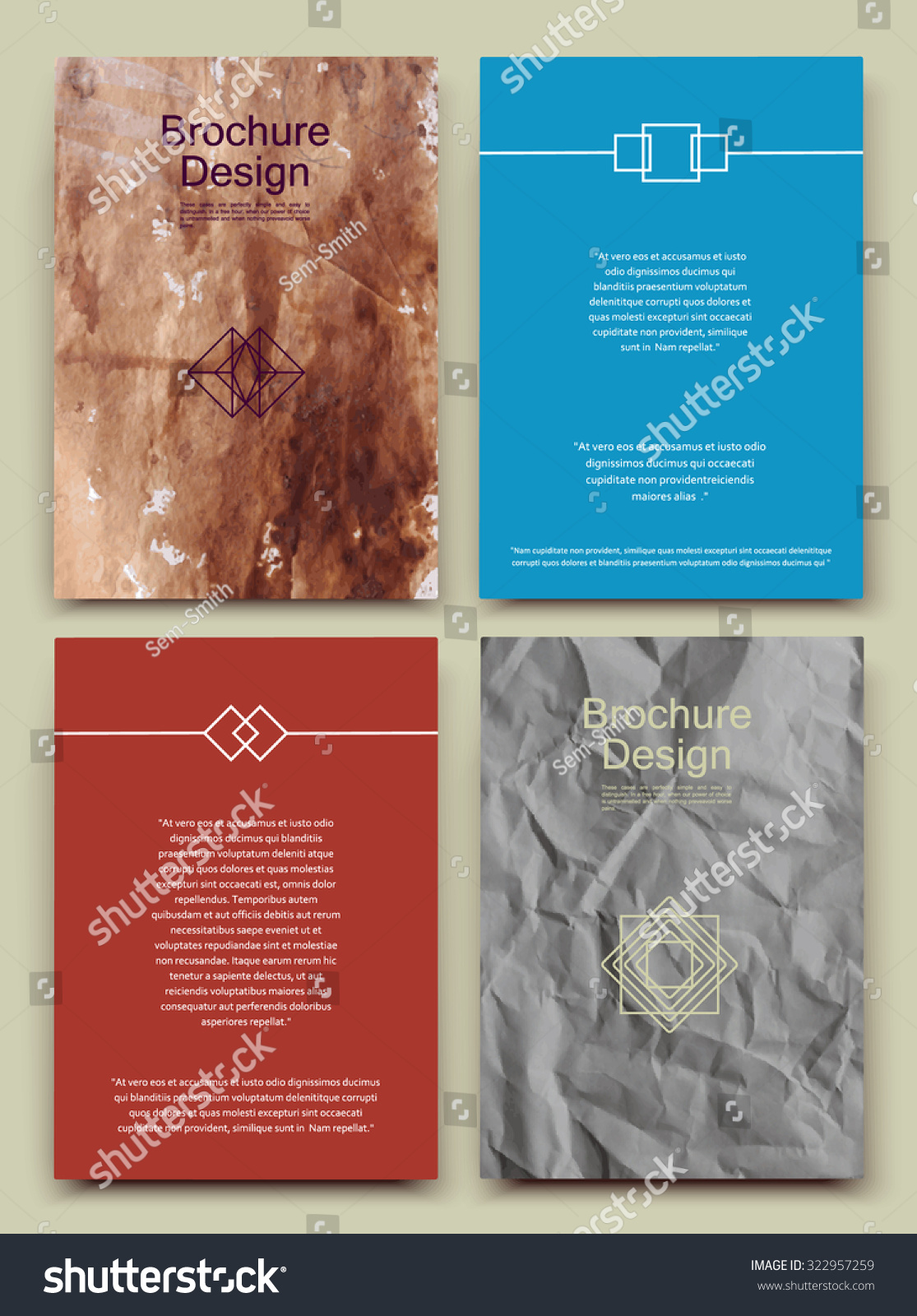 Abstract Composition Business Card Set Crumpled Stock Vector ...