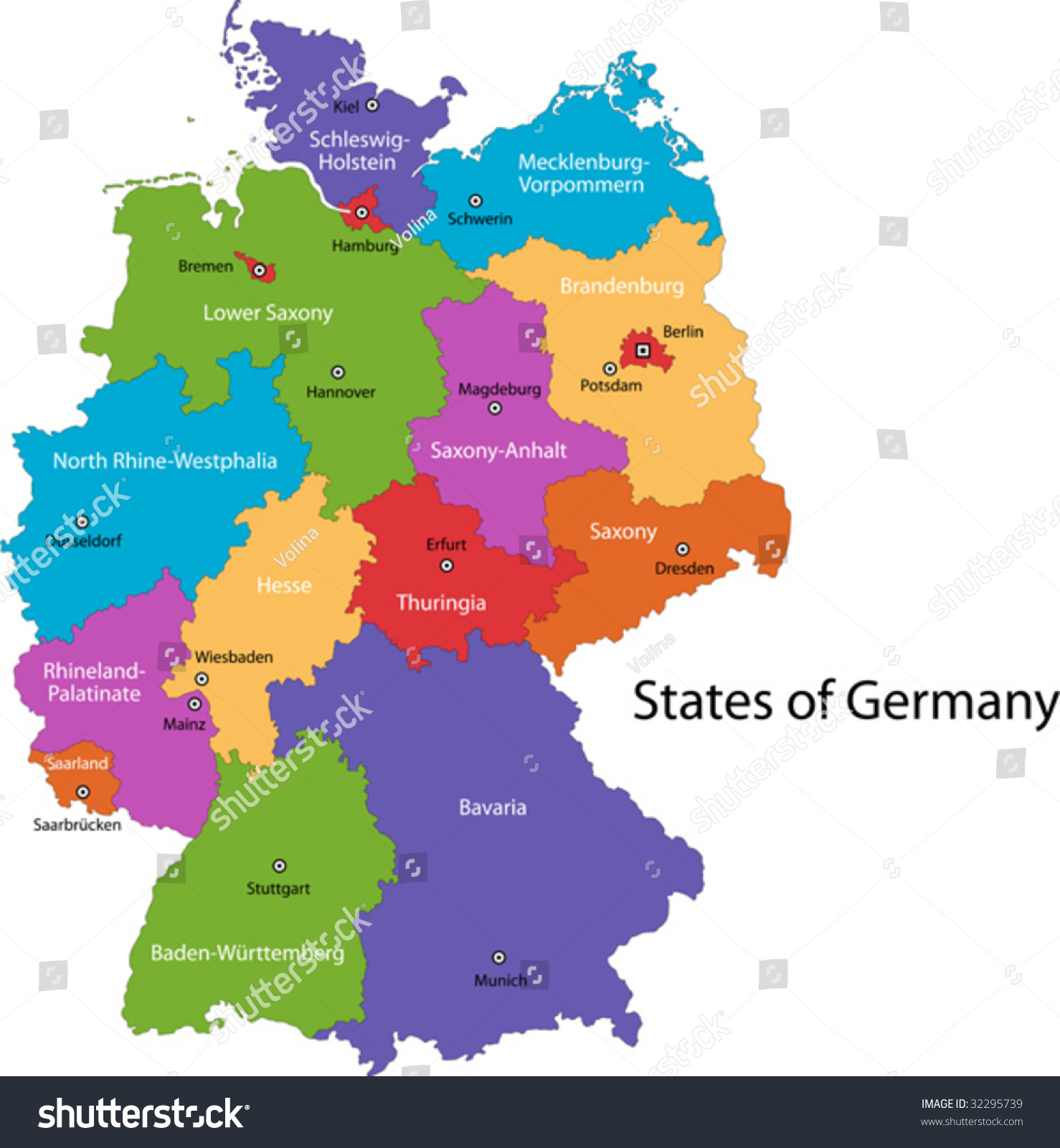 Colorful Germany Map Regions Main Cities Stock Vector